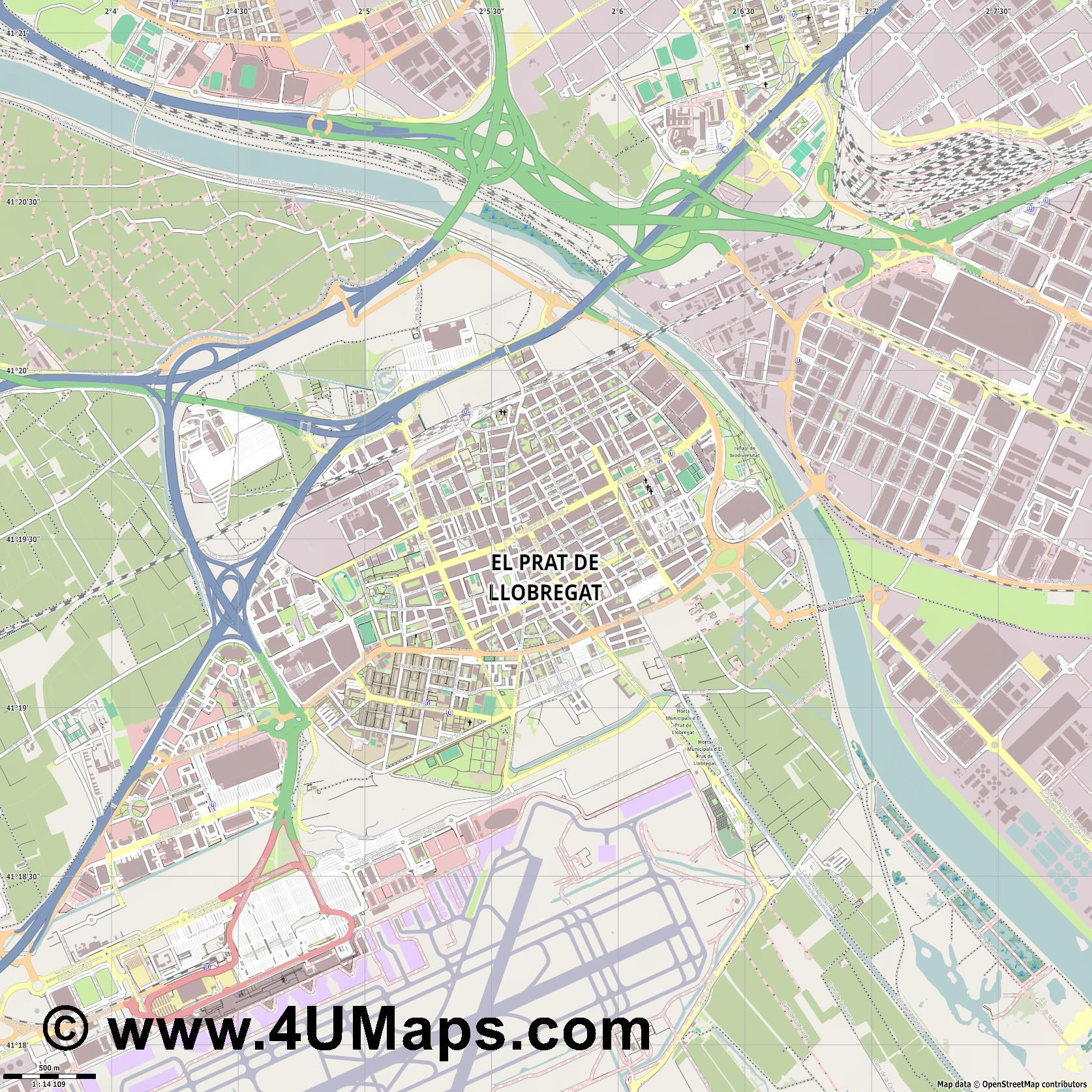 el Prat de Llobregat El Prat de Llobregat  jpg ultra high detail preview vector city map