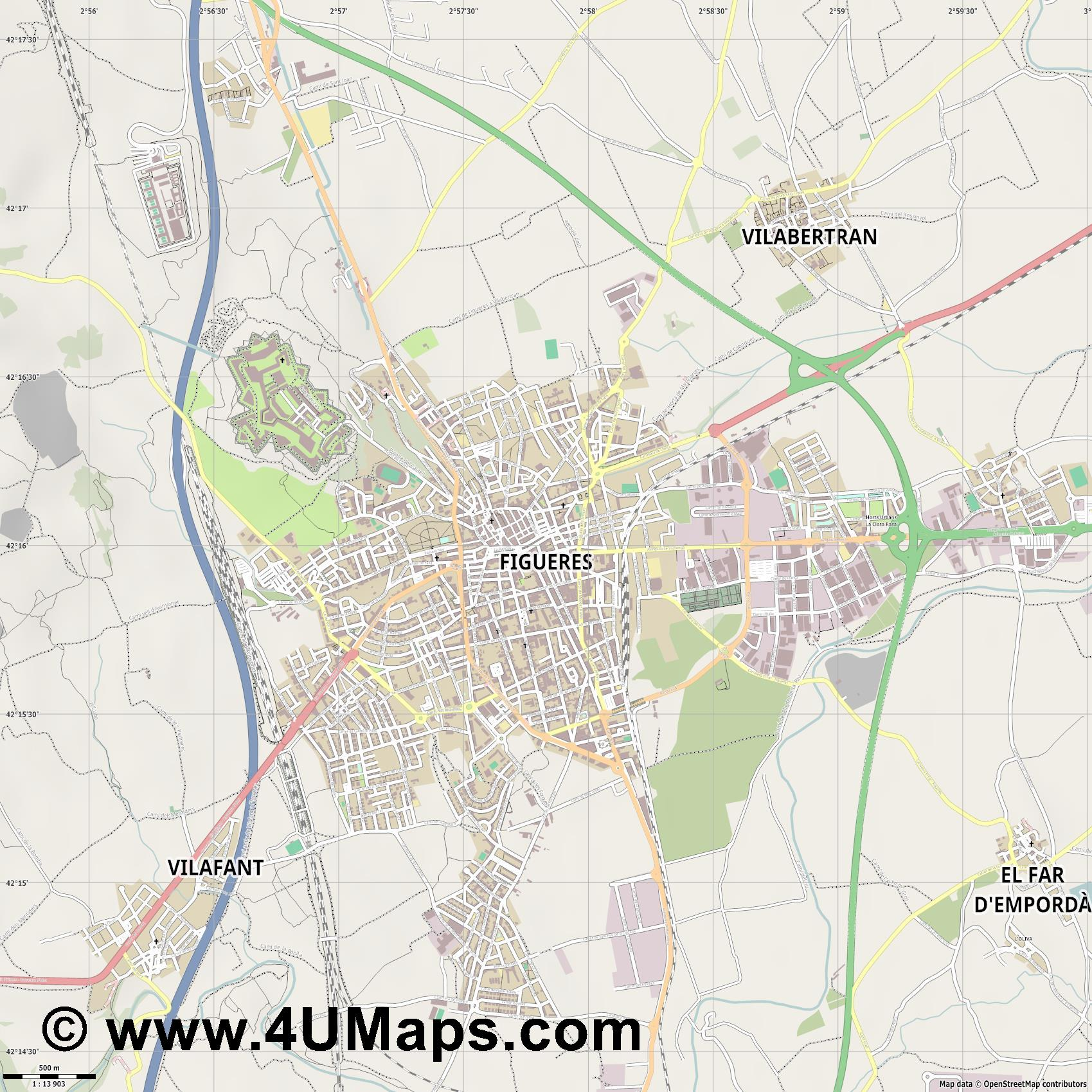 Figueres Figueras  jpg ultra high detail preview vector city map
