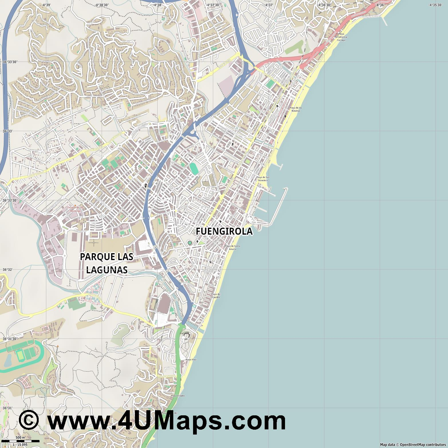 Fuengirola  jpg ultra high detail preview vector city map