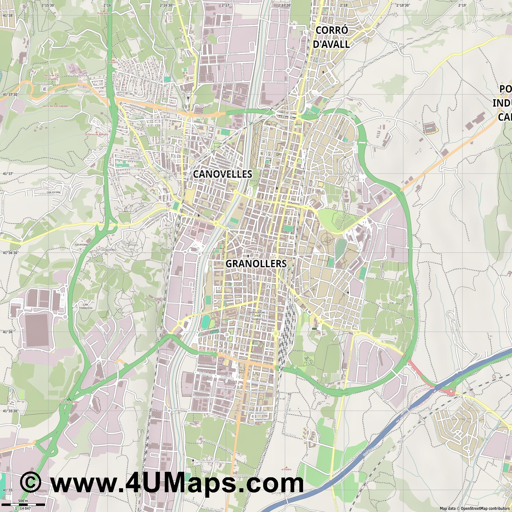Granollers  jpg ultra high detail preview vector city map