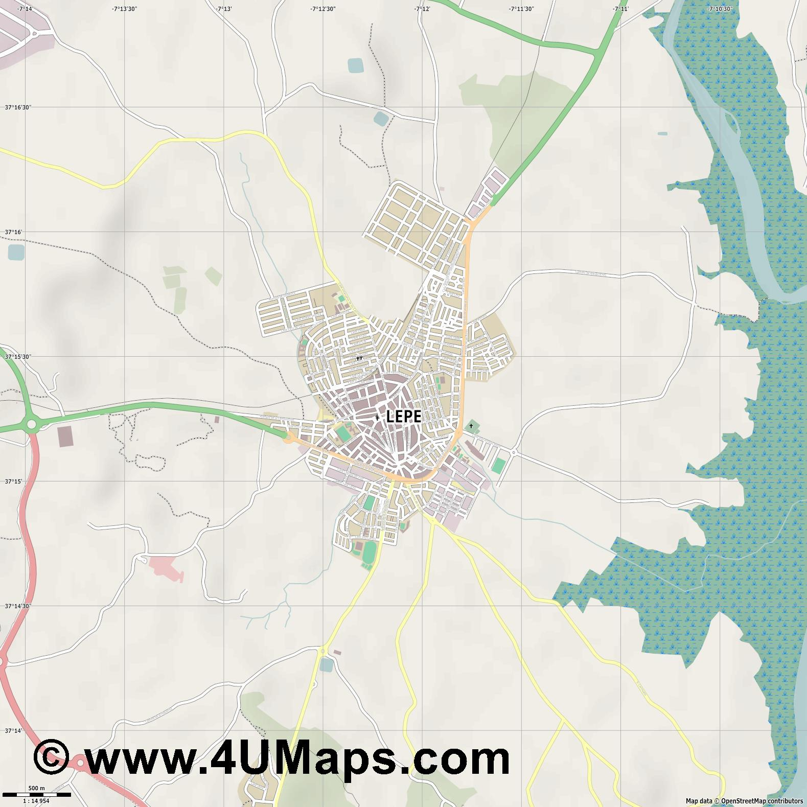 Lepe  jpg ultra high detail preview vector city map