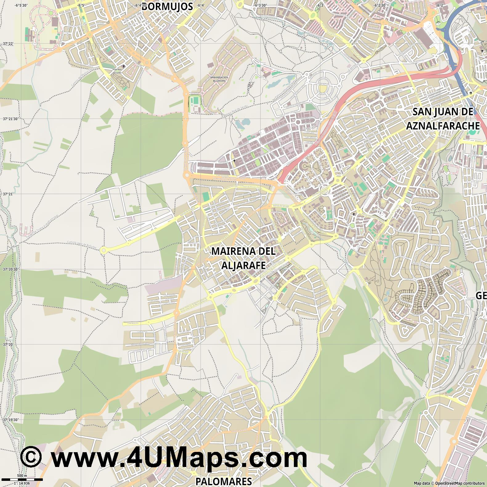Mairena del Aljarafe  jpg ultra high detail preview vector city map