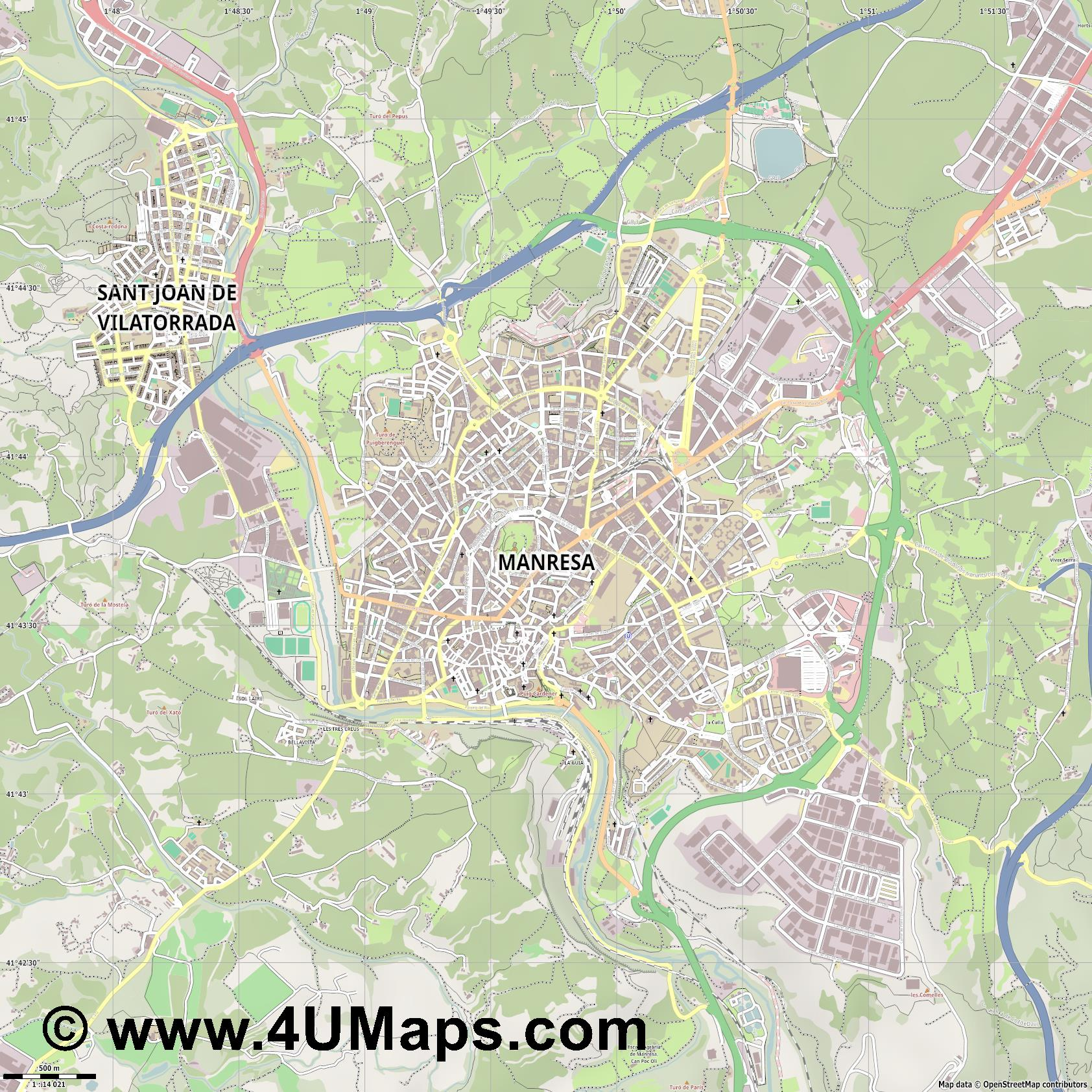 Manresa  jpg ultra high detail preview vector city map
