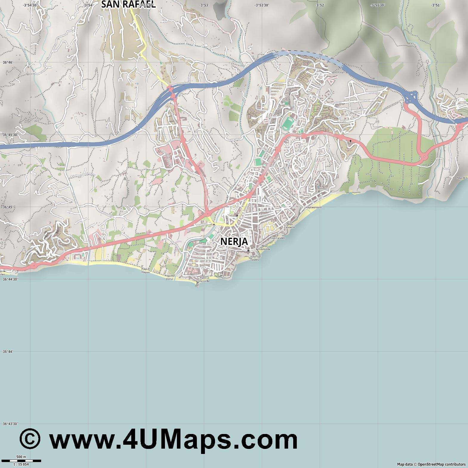 Nerja  jpg ultra high detail preview vector city map