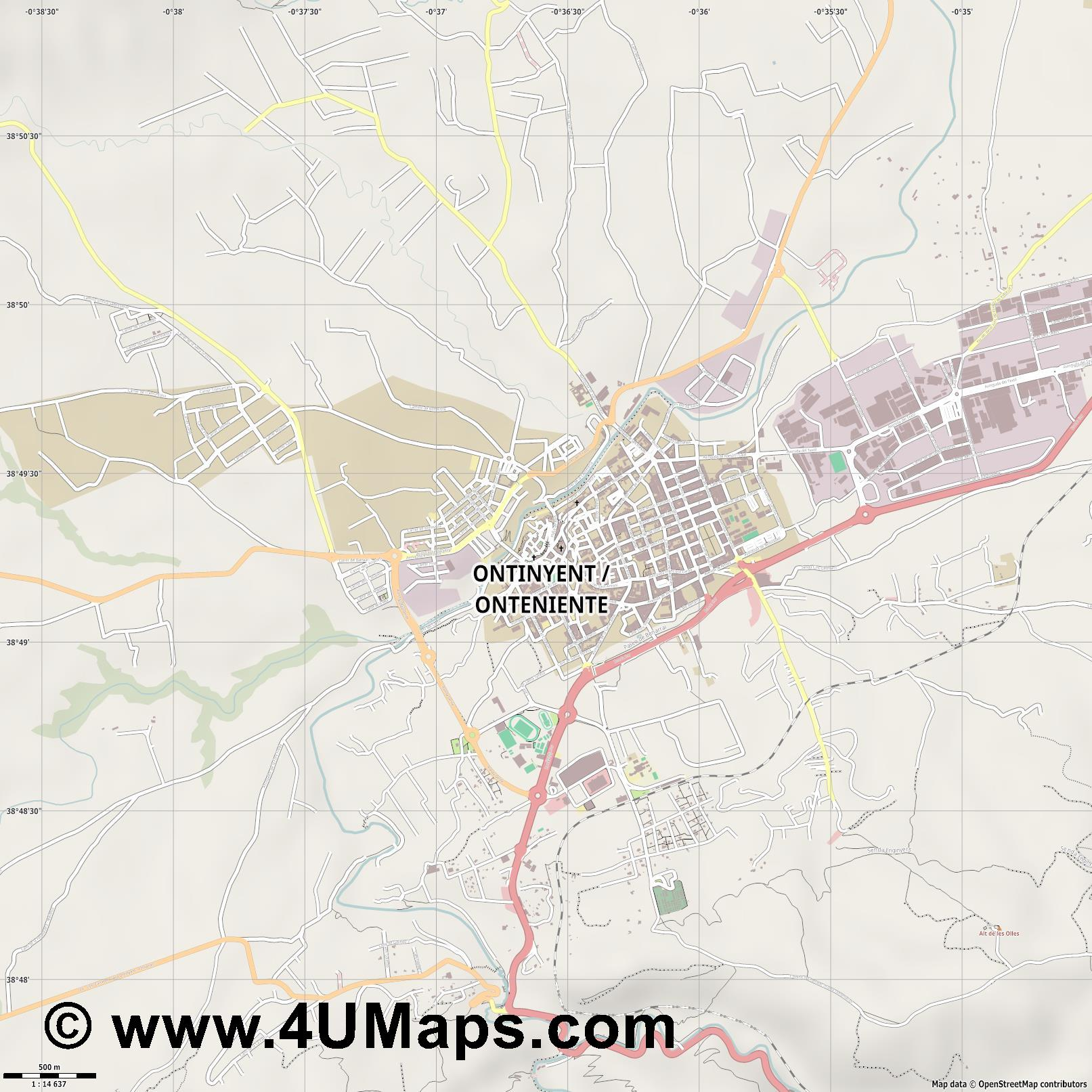 Ontinyent Onteniente  jpg ultra high detail preview vector city map
