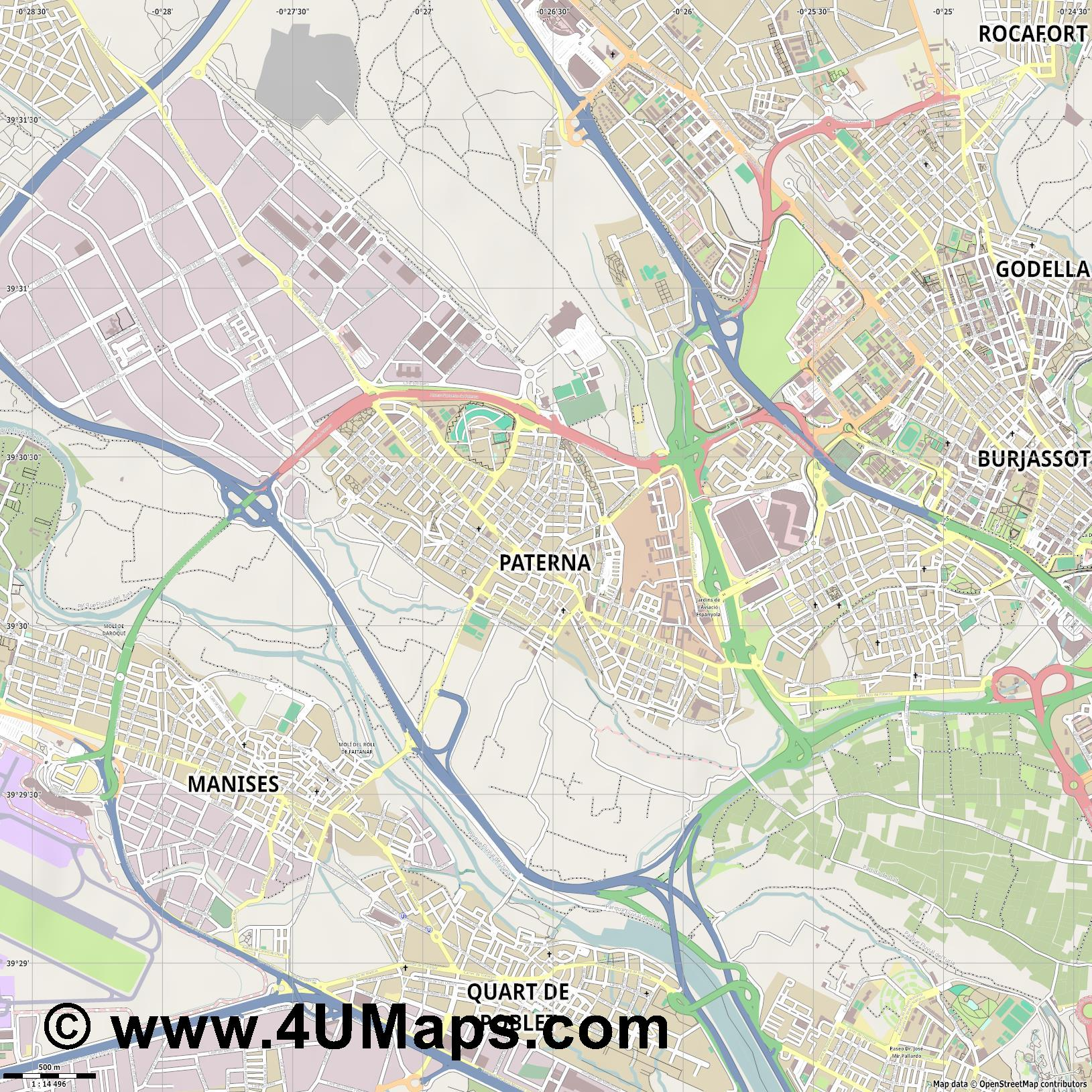 Paterna  jpg ultra high detail preview vector city map