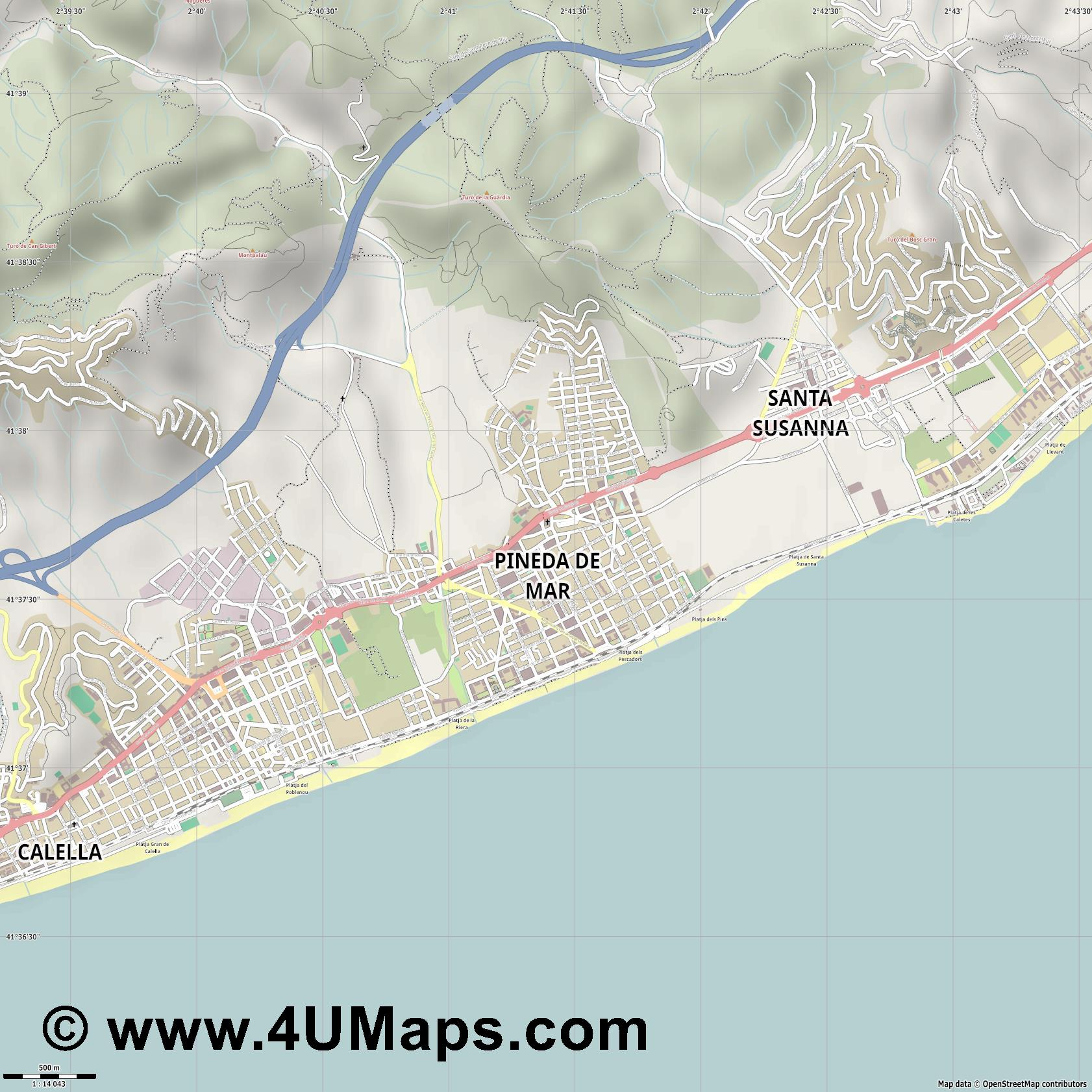 Pineda de Mar  jpg ultra high detail preview vector city map
