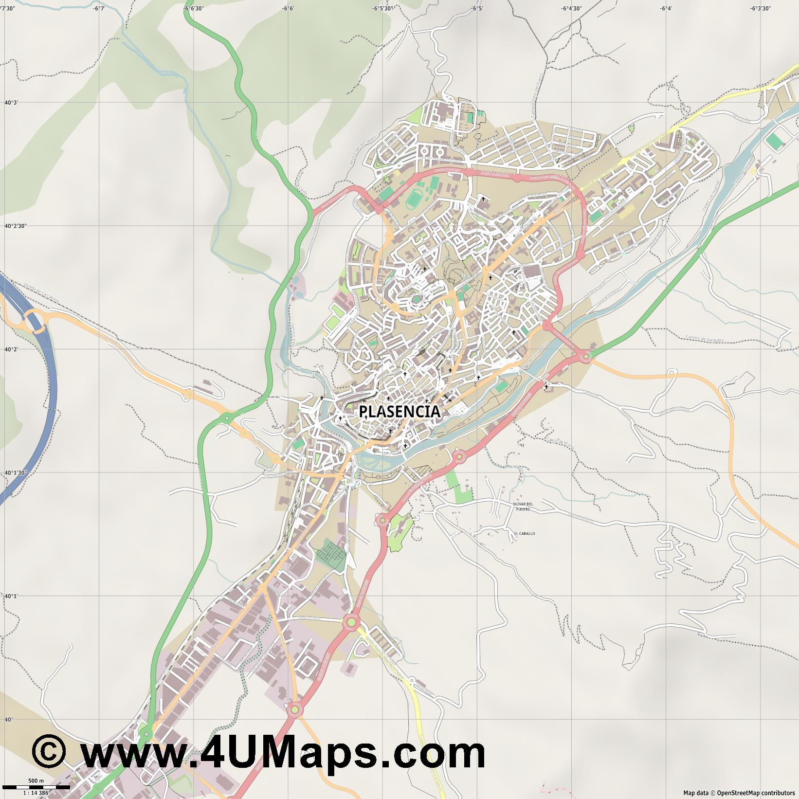 Plasencia  jpg ultra high detail preview vector city map
