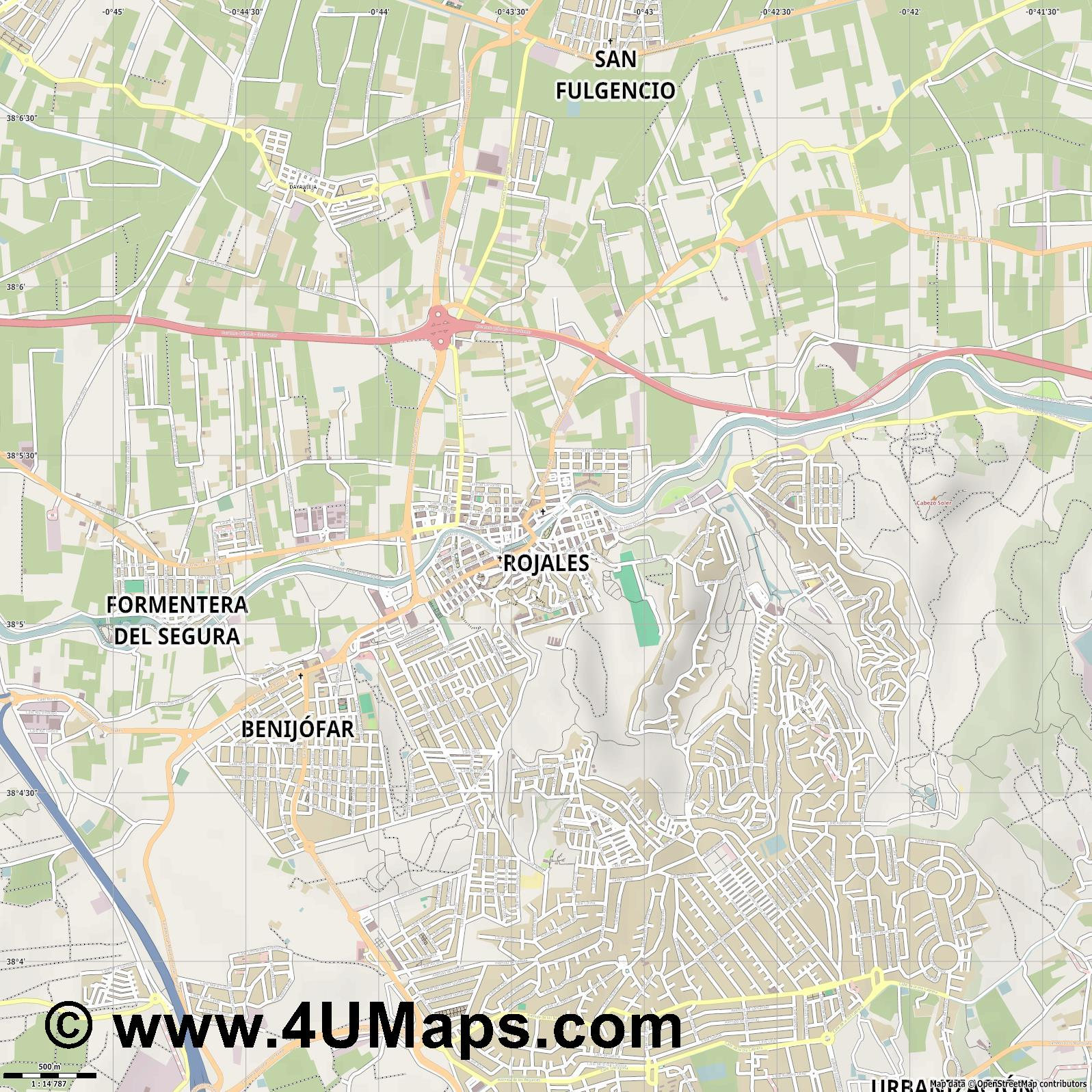 Rojales  jpg ultra high detail preview vector city map