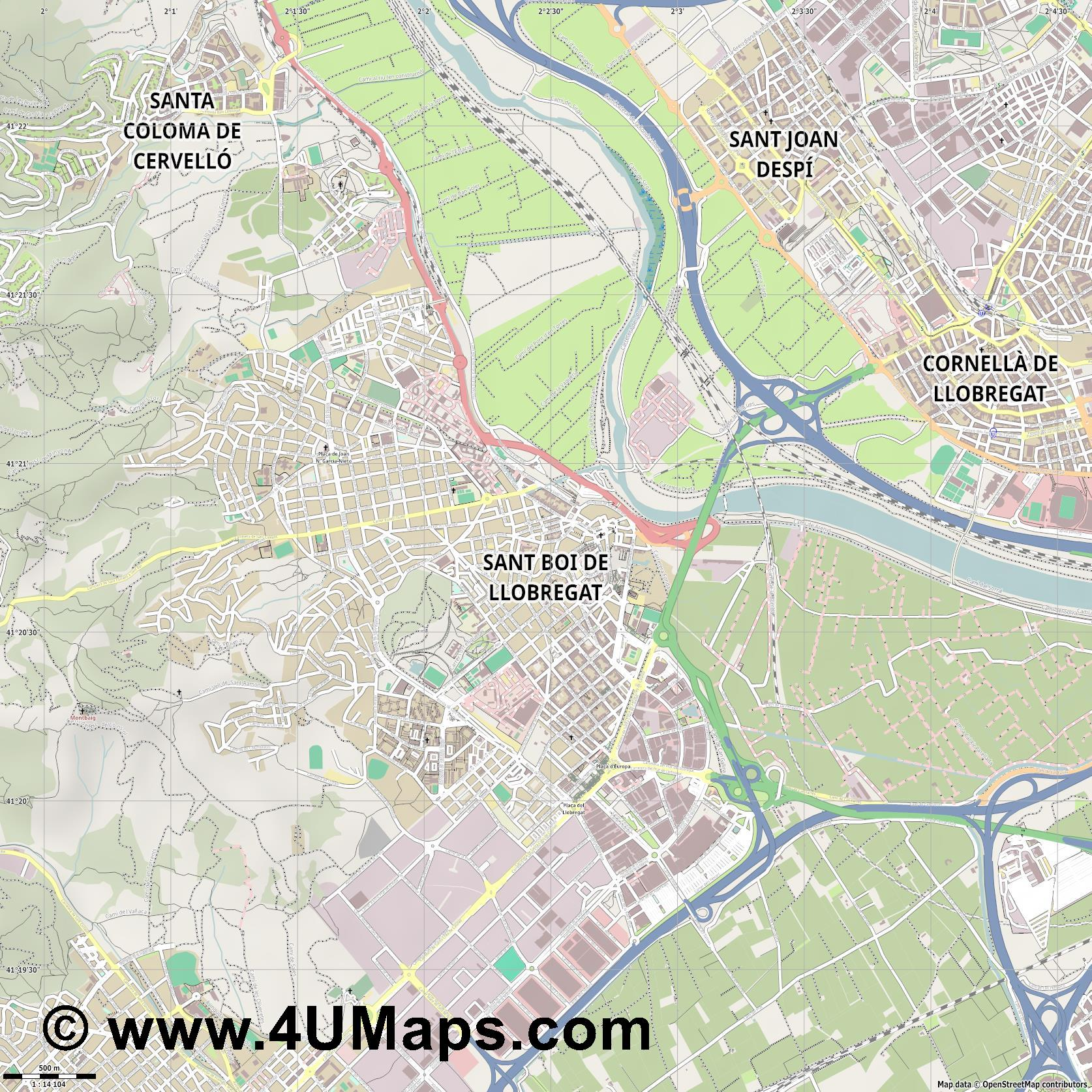 Sant Boi de Llobregat  jpg ultra high detail preview vector city map