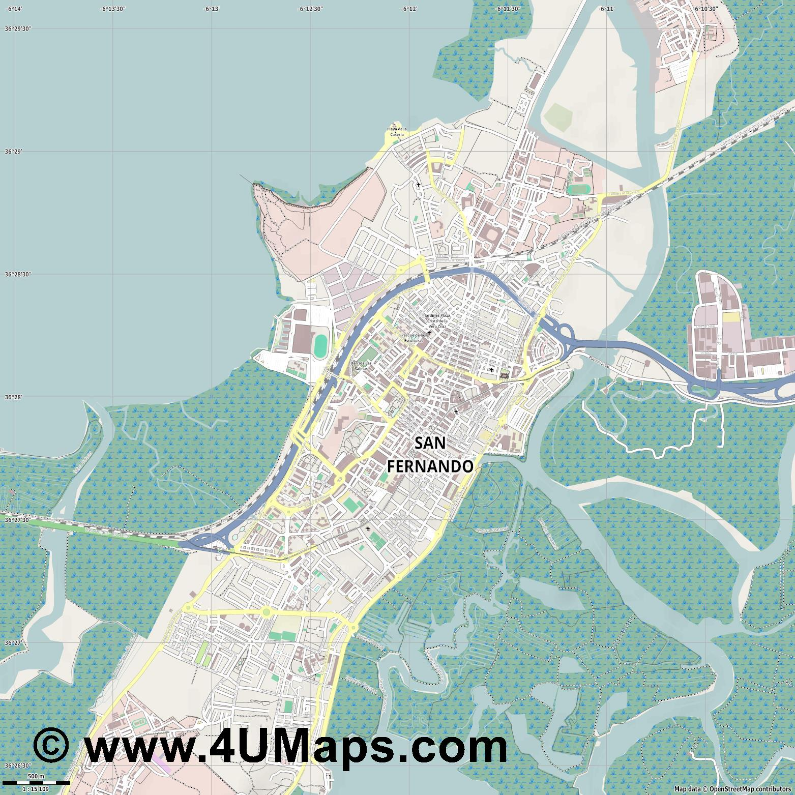 San Fernando  jpg ultra high detail preview vector city map