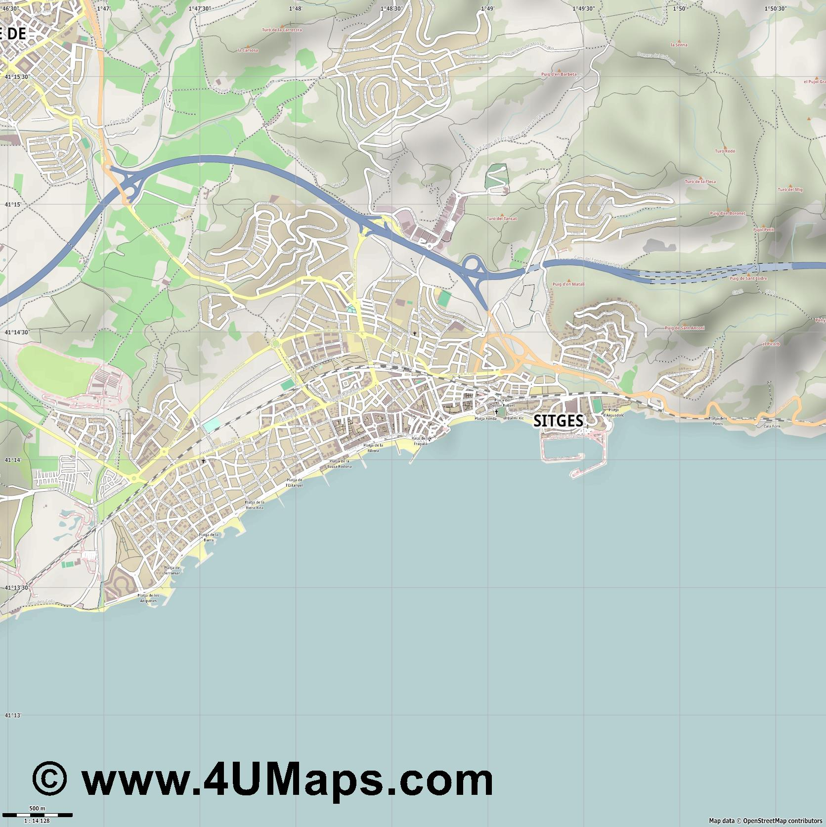 Sitges  jpg ultra high detail preview vector city map