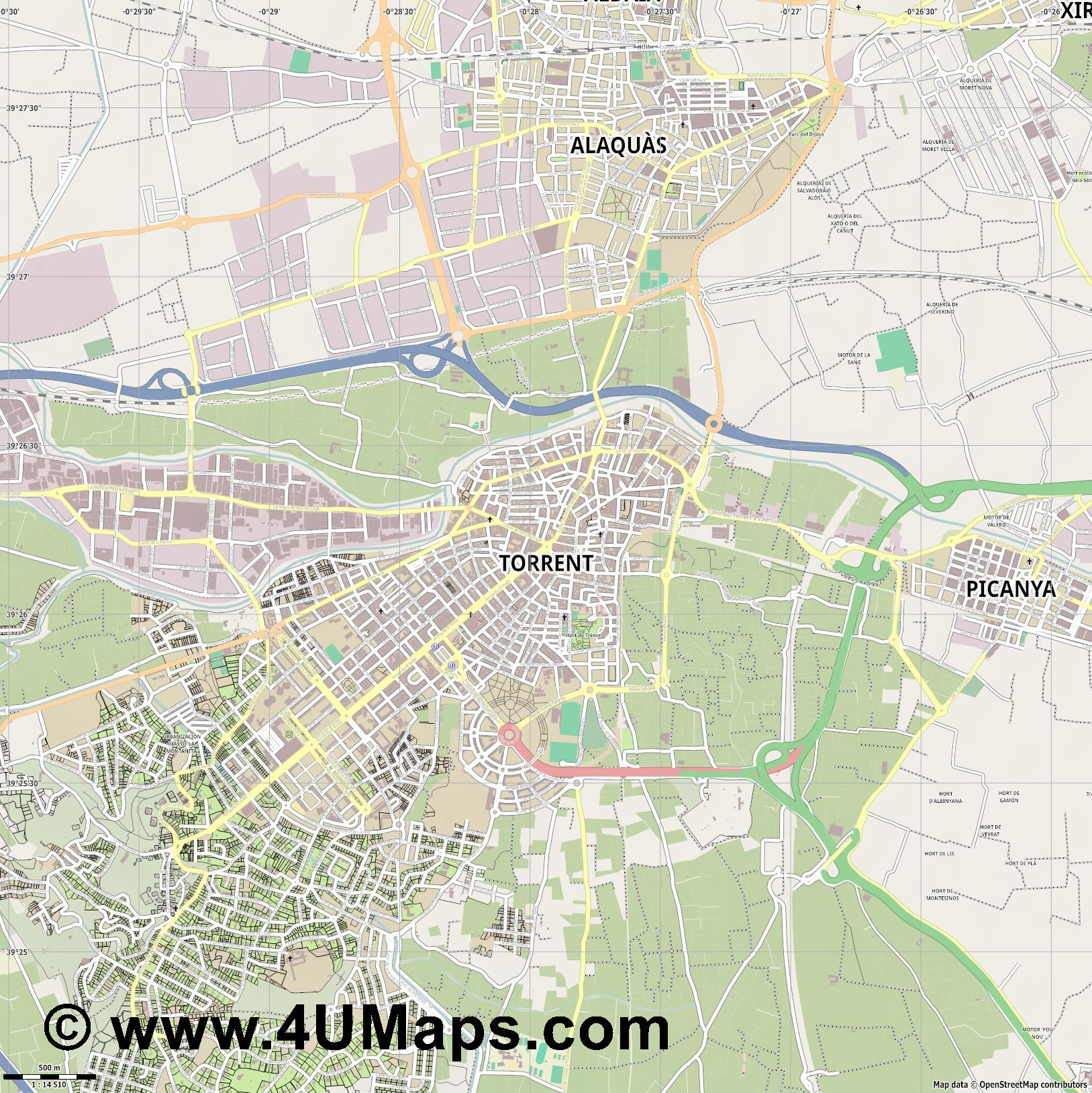Torrent Torrente  jpg ultra high detail preview vector city map
