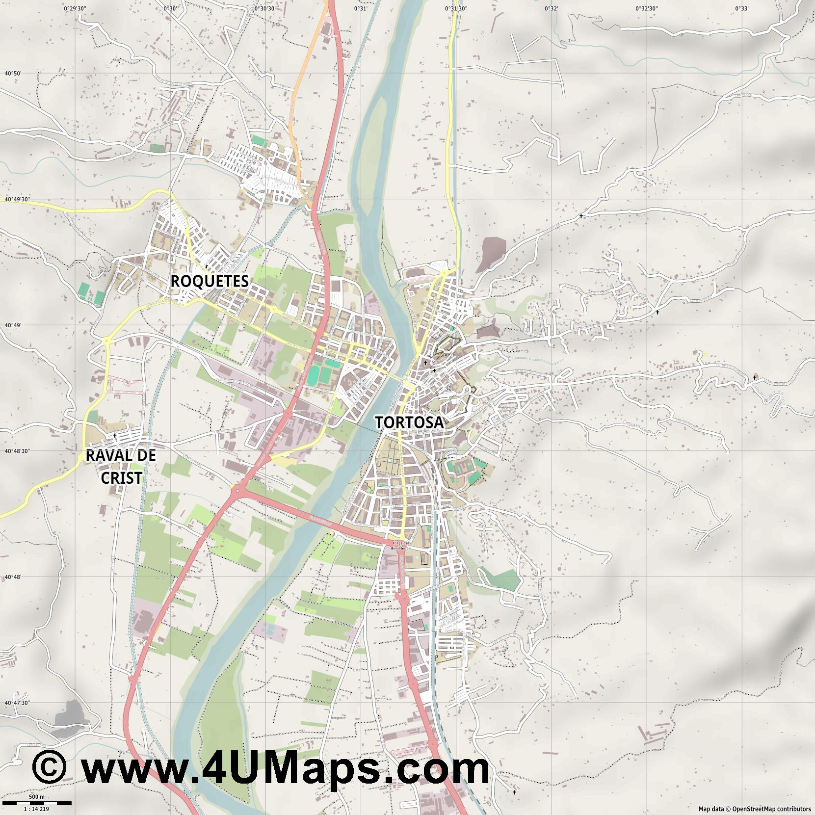 Tortosa  jpg ultra high detail preview vector city map