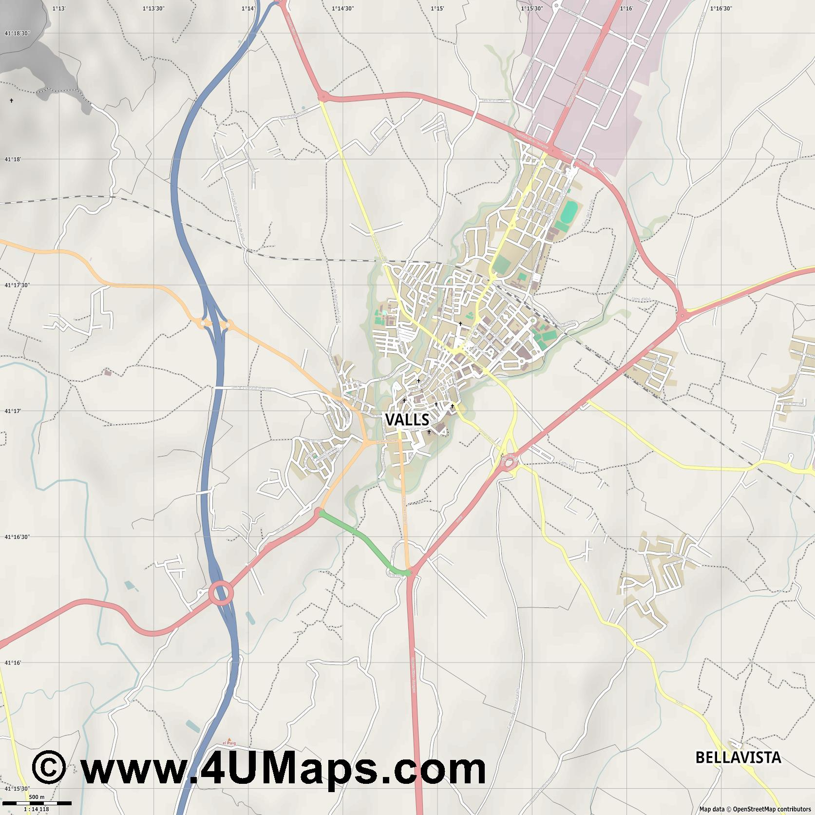 Valls  jpg ultra high detail preview vector city map