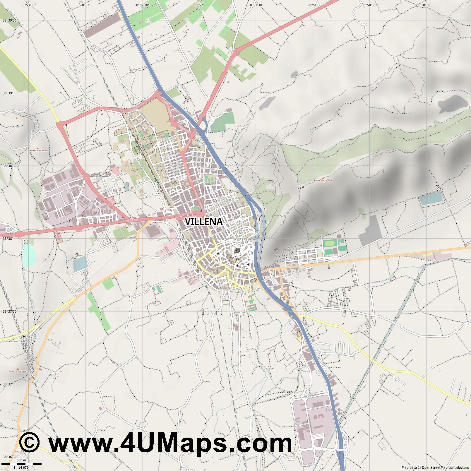 Villena  jpg ultra high detail preview vector city map