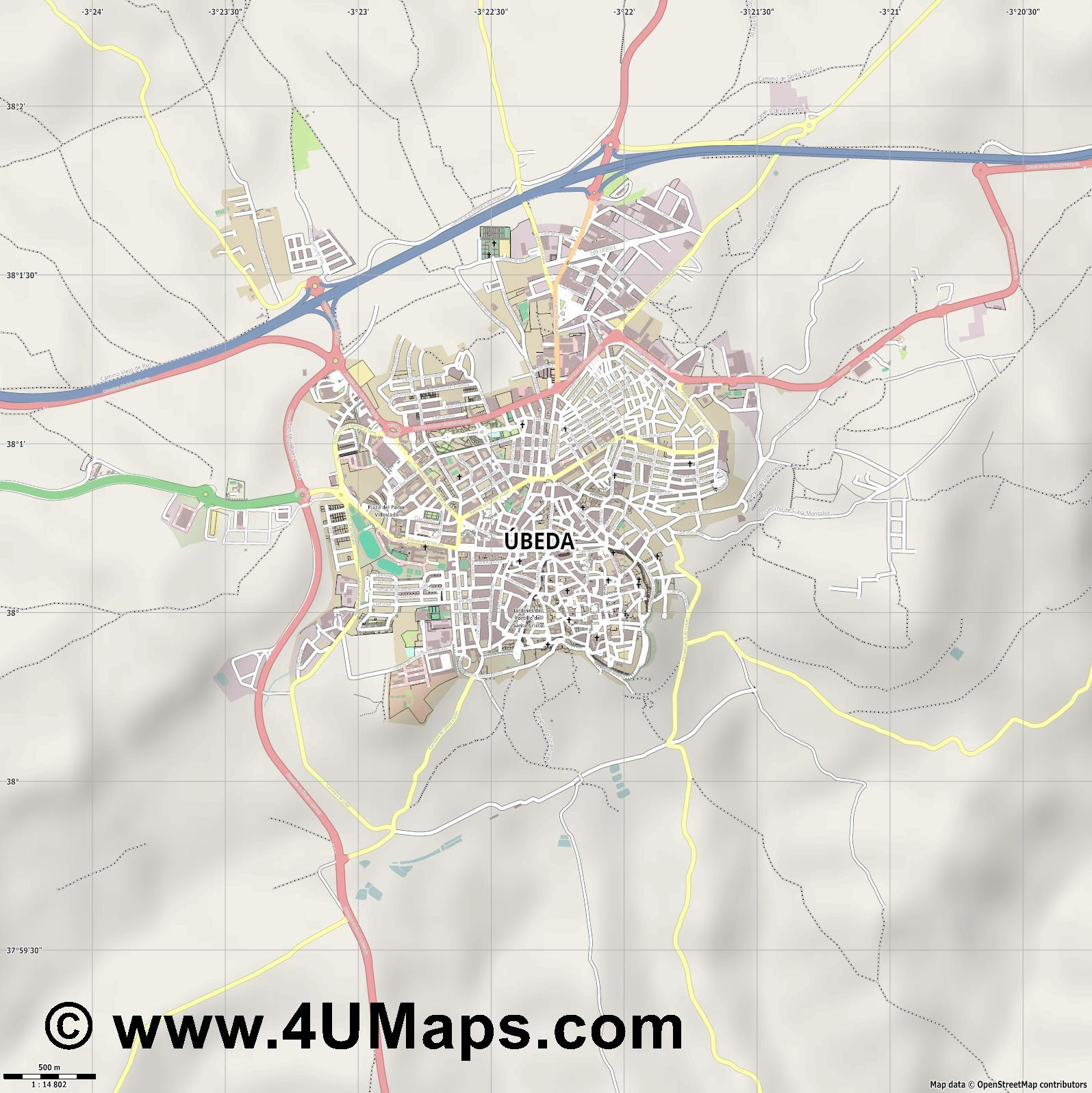 Úbeda  jpg ultra high detail preview vector city map