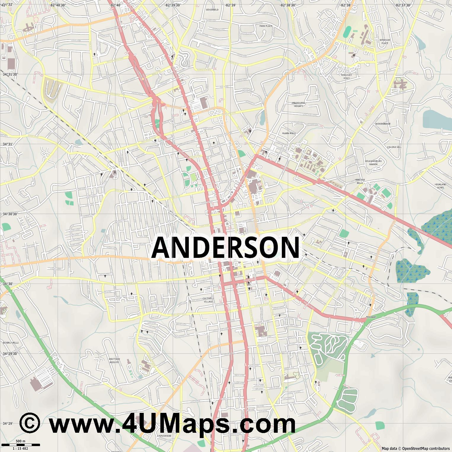 Anderson  jpg ultra high detail preview vector city map