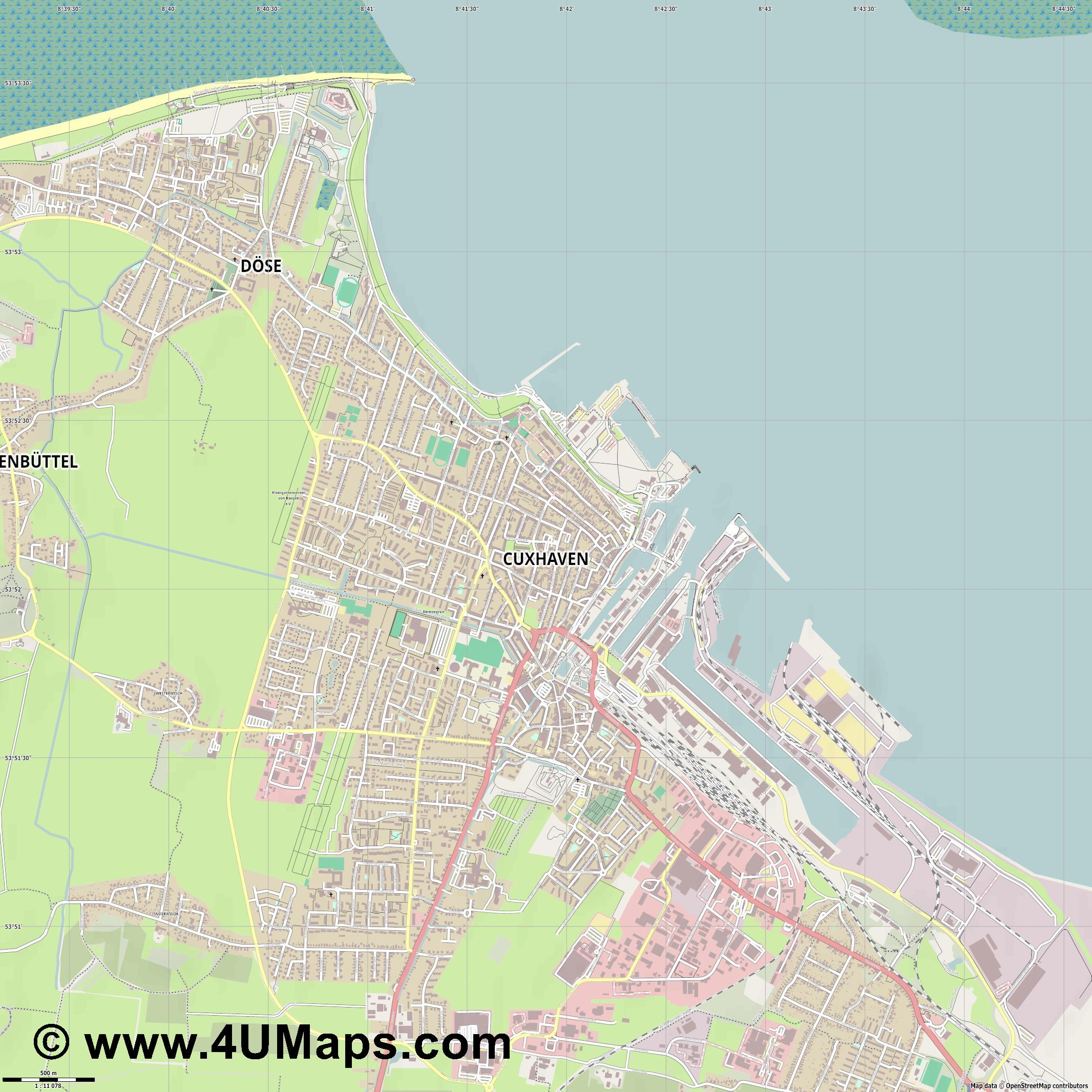 Cuxhaven  jpg ultra high detail preview vector city map