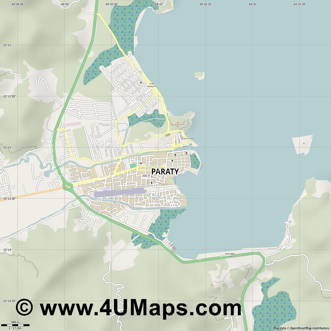 Paraty  jpg ultra high detail preview vector city map