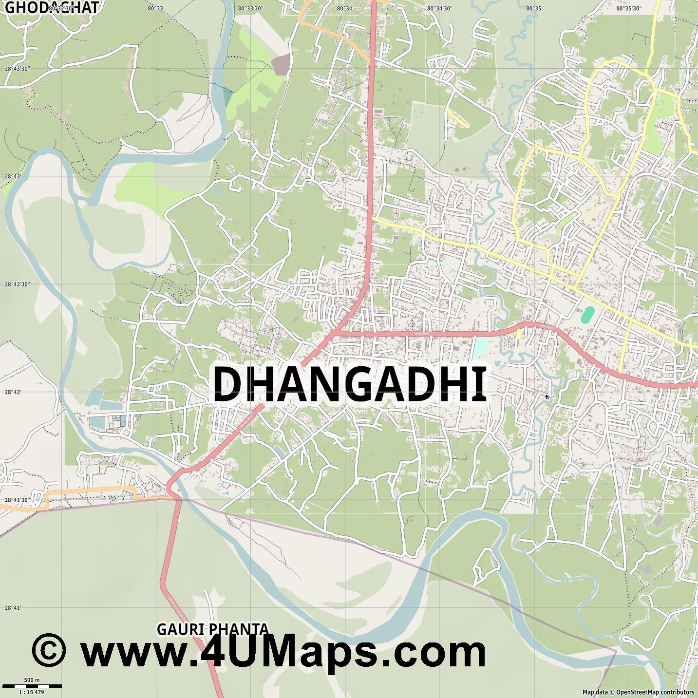 Dhangadhi  jpg ultra high detail preview vector city map