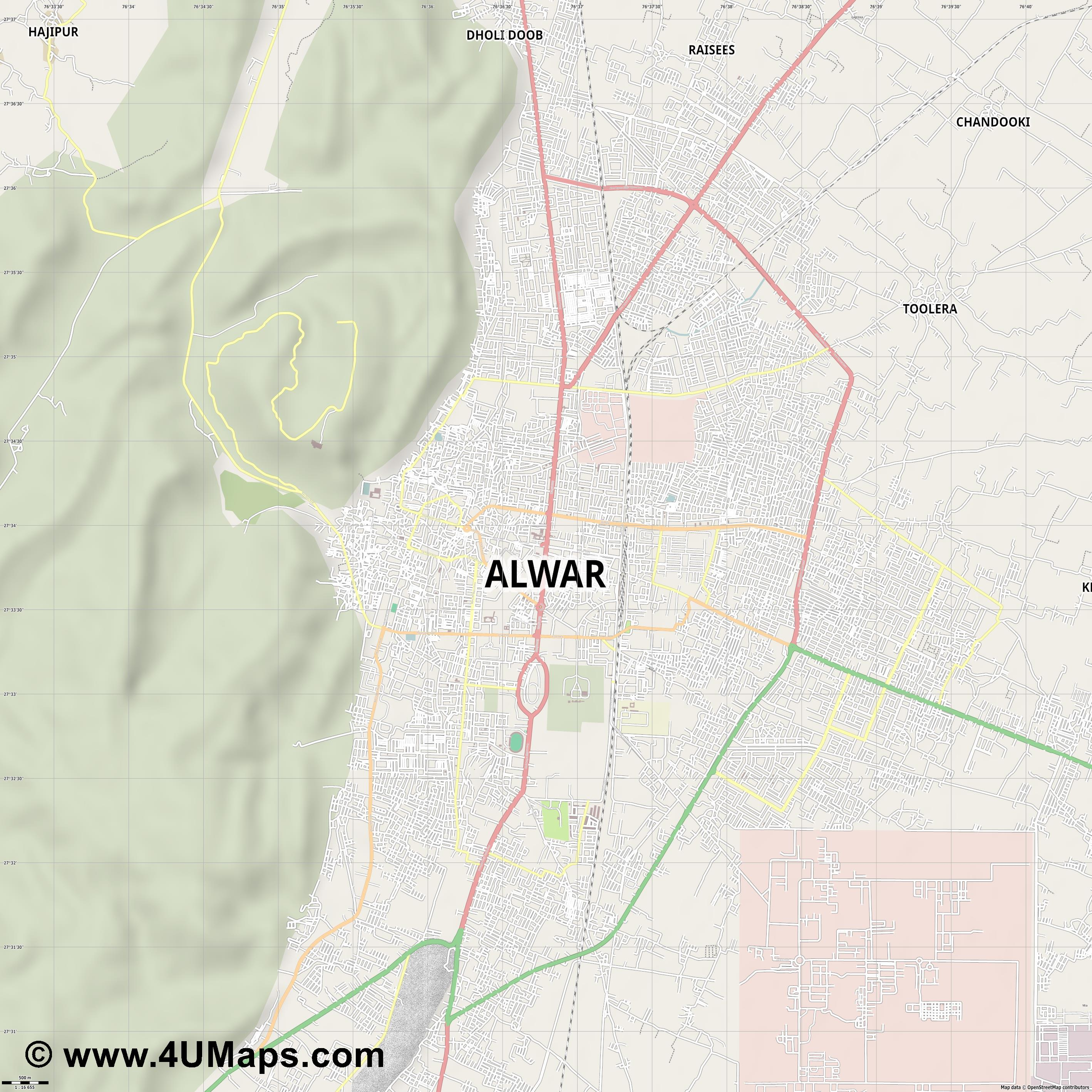 Alwar  jpg ultra high detail preview vector city map