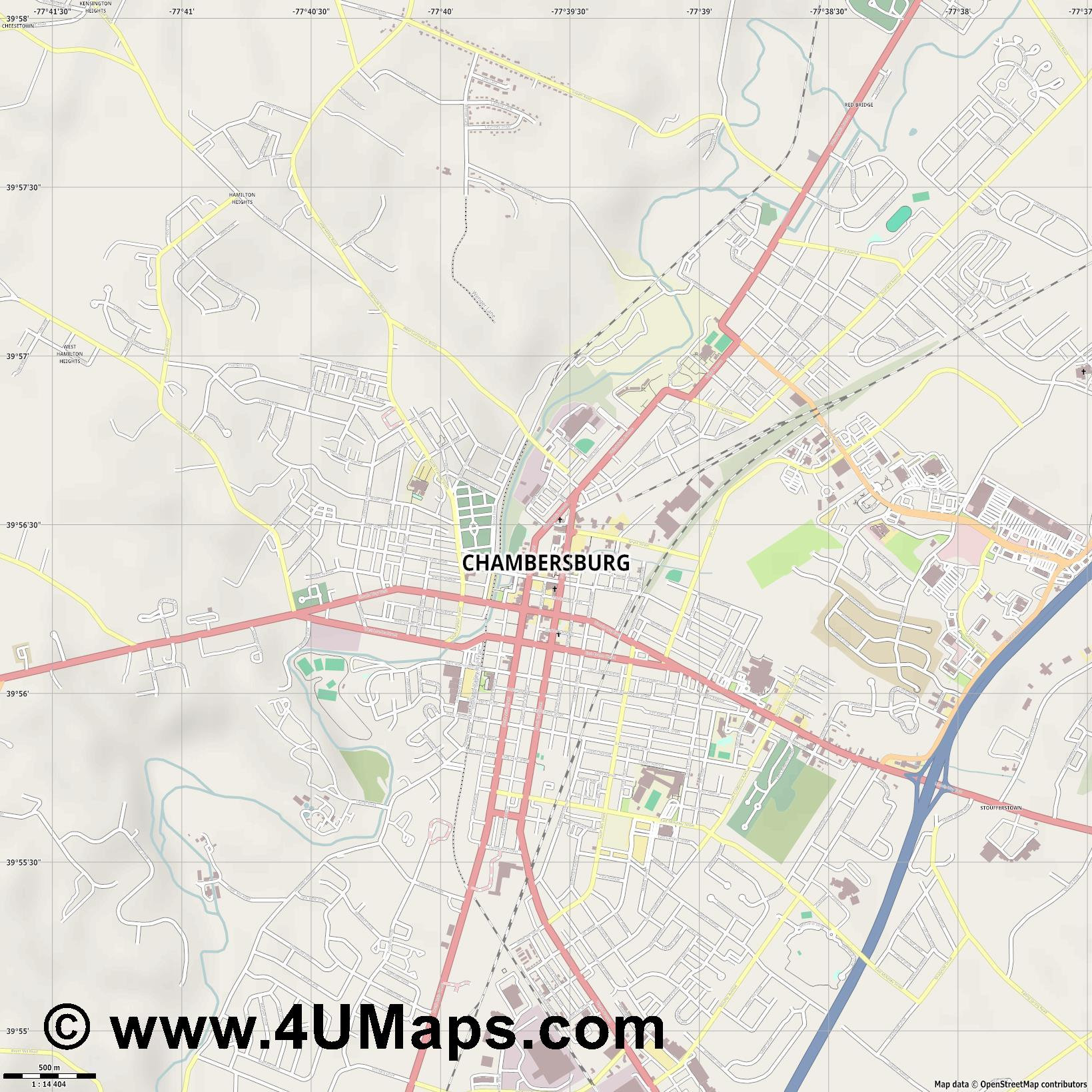 Chambersburg  jpg ultra high detail preview vector city map