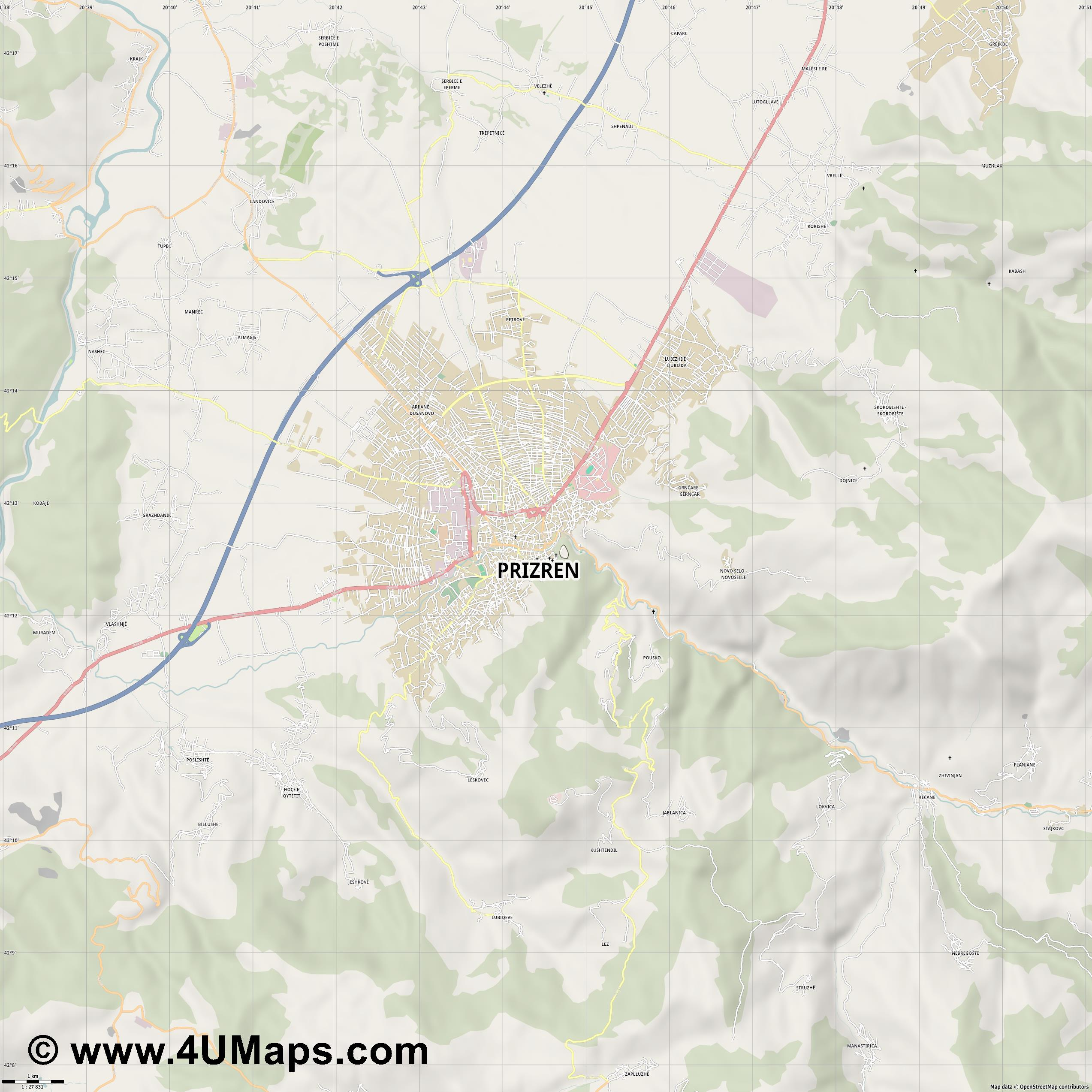Prizren  jpg high detail, large area preview vector city map