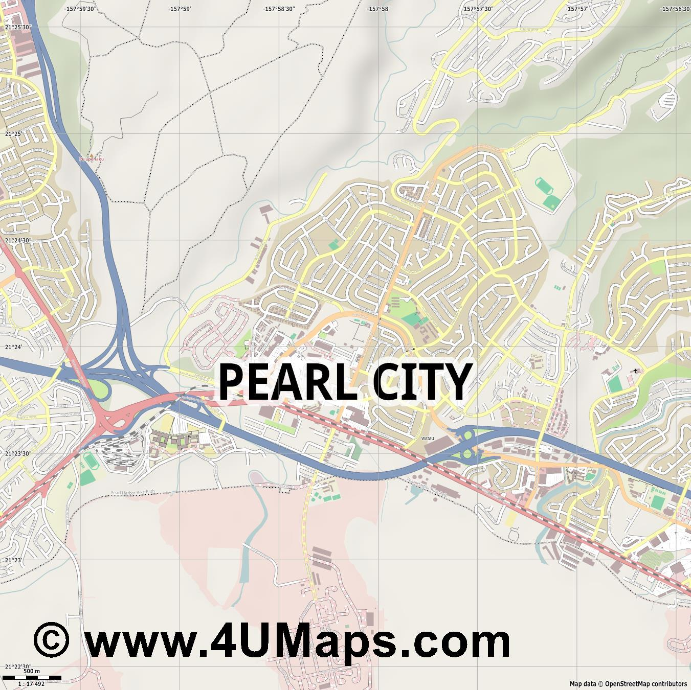 Pearl City  jpg ultra high detail preview vector city map