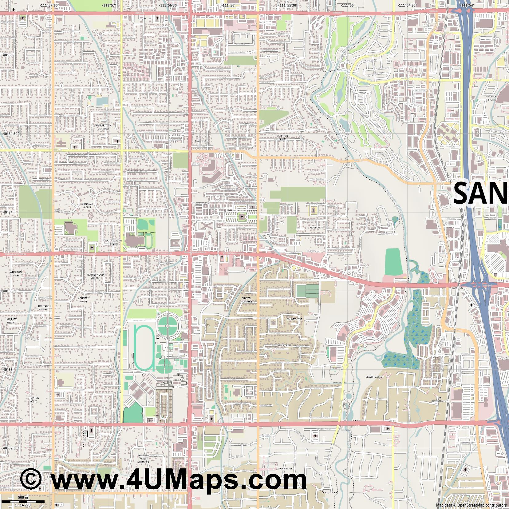 South Jordan  jpg ultra high detail preview vector city map
