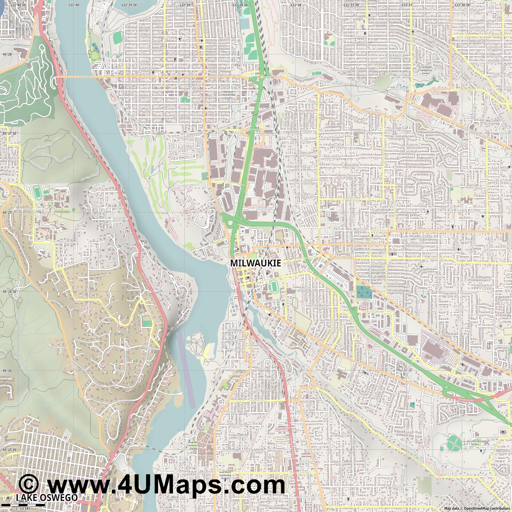 Milwaukie  jpg ultra high detail preview vector city map