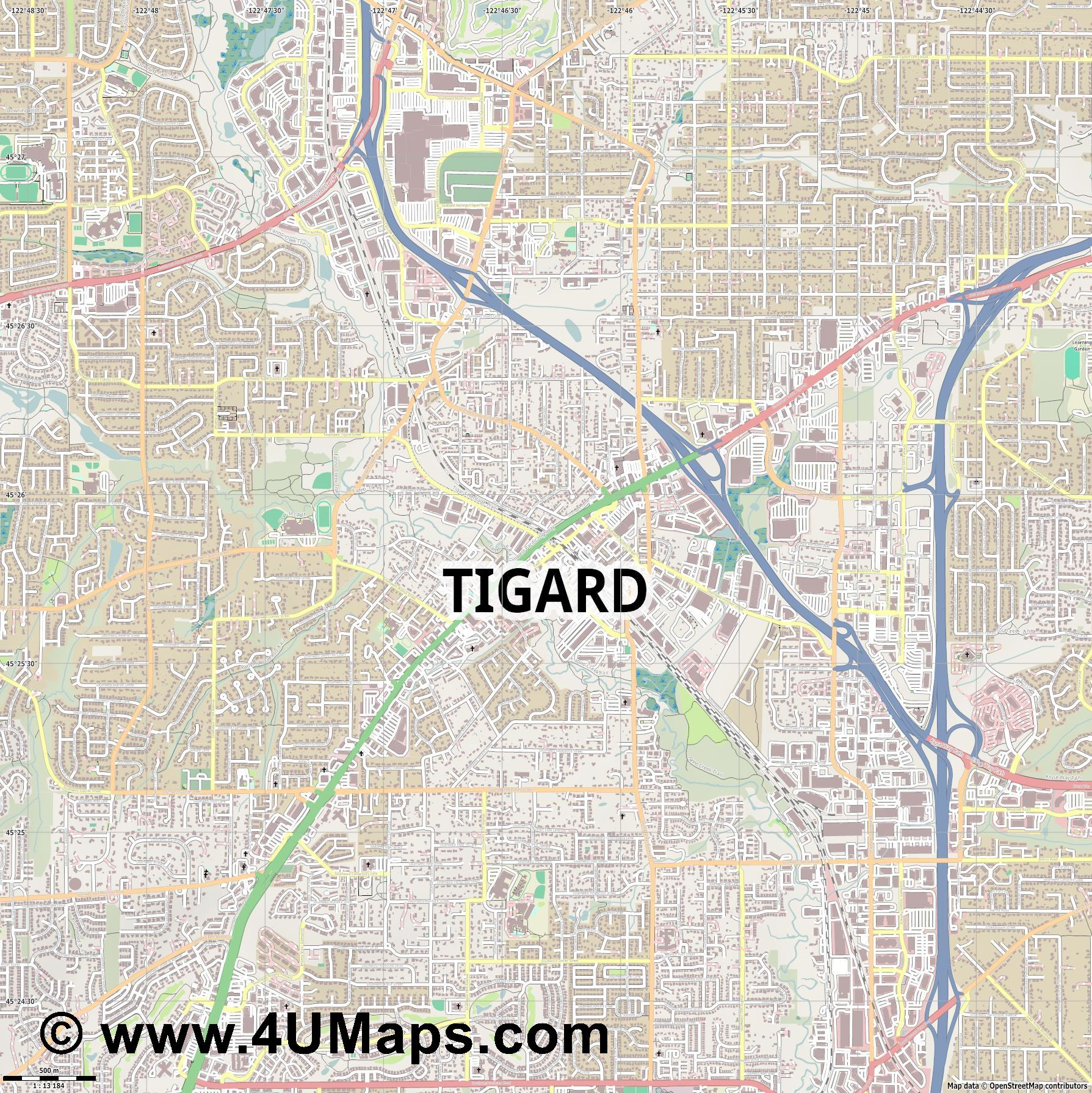 Tigard  jpg ultra high detail preview vector city map