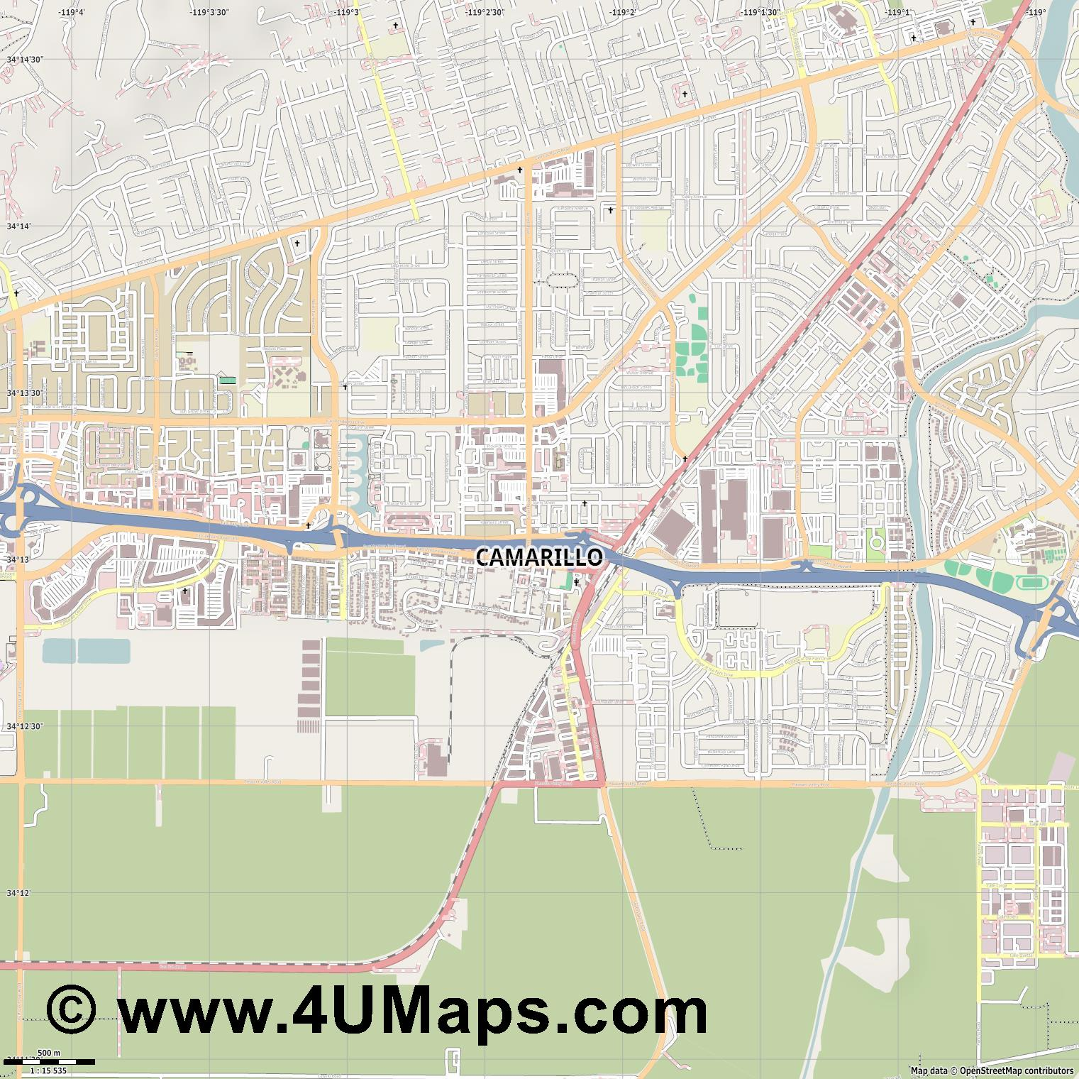 Camarillo  jpg ultra high detail preview vector city map