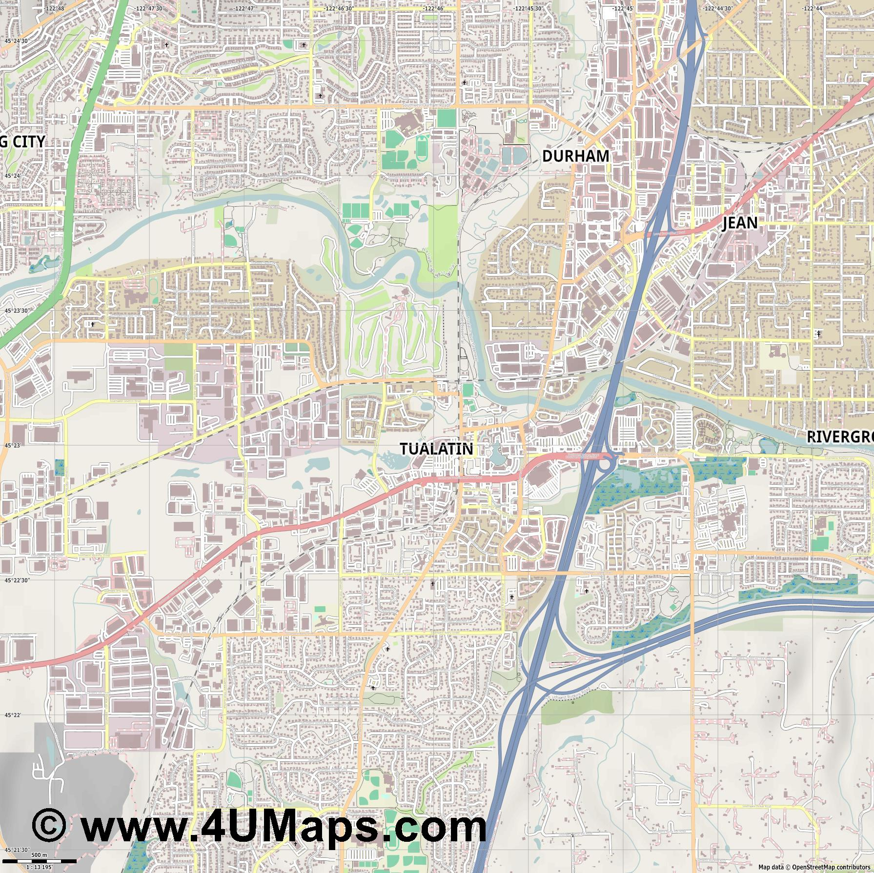 Tualatin  jpg ultra high detail preview vector city map