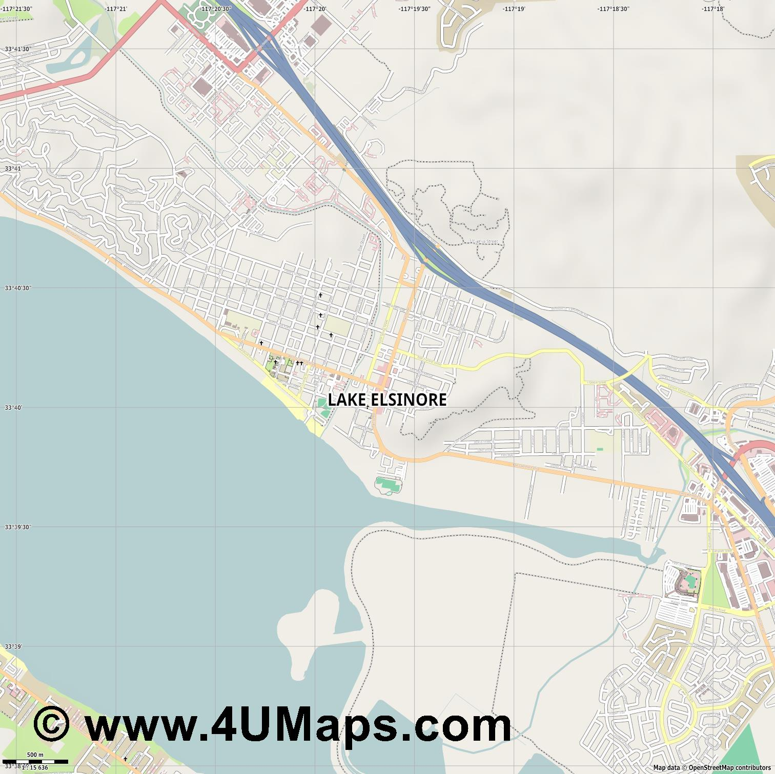 Lake Elsinore  jpg ultra high detail preview vector city map