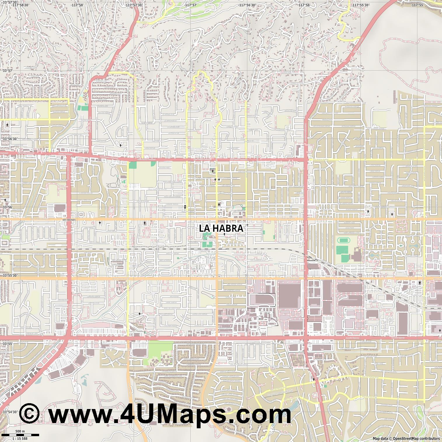 La Habra  jpg ultra high detail preview vector city map
