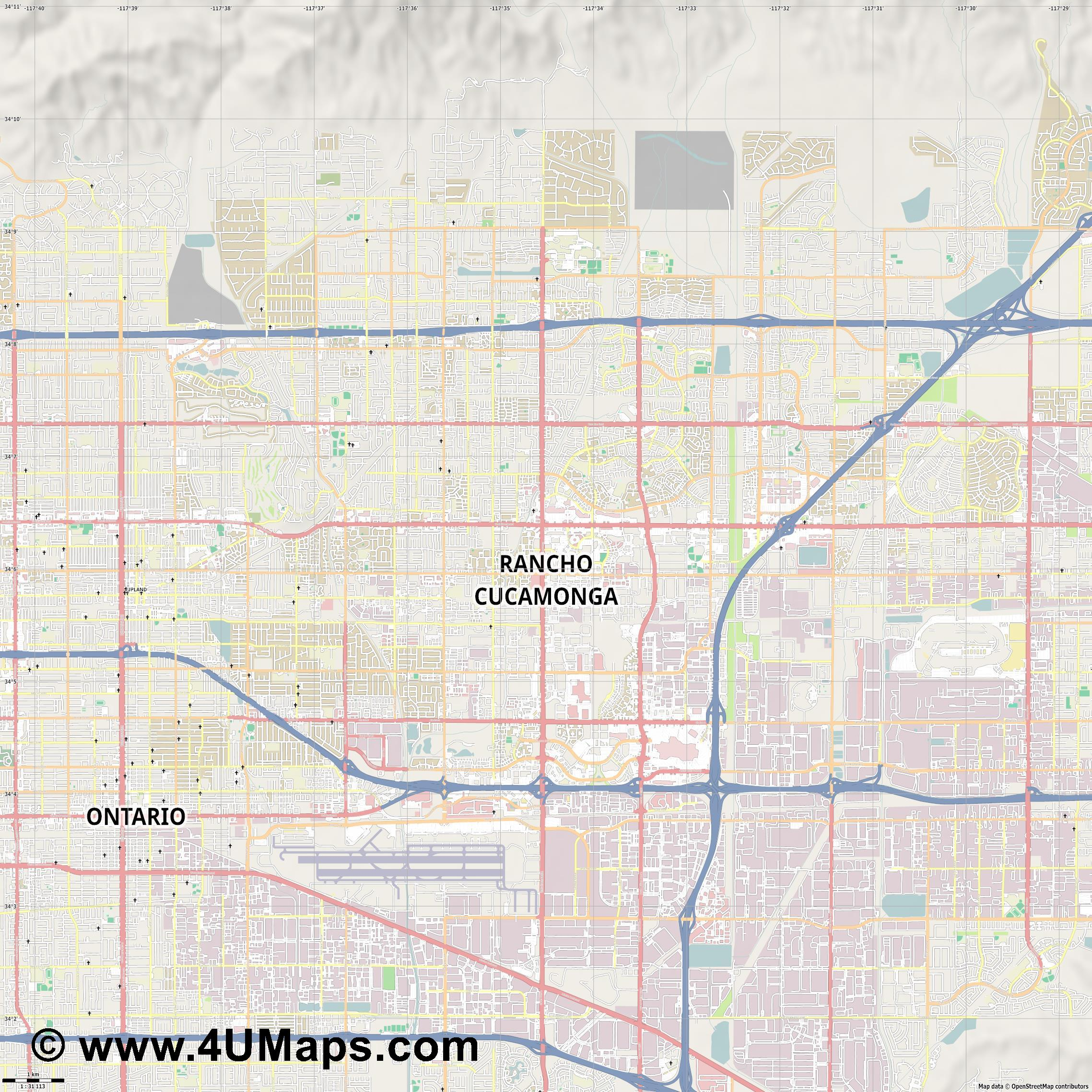 Rancho Cucamonga  jpg high detail, large area preview vector city map