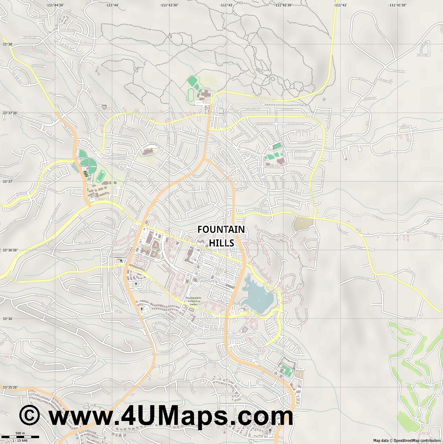 Fountain Hills  jpg ultra high detail preview vector city map