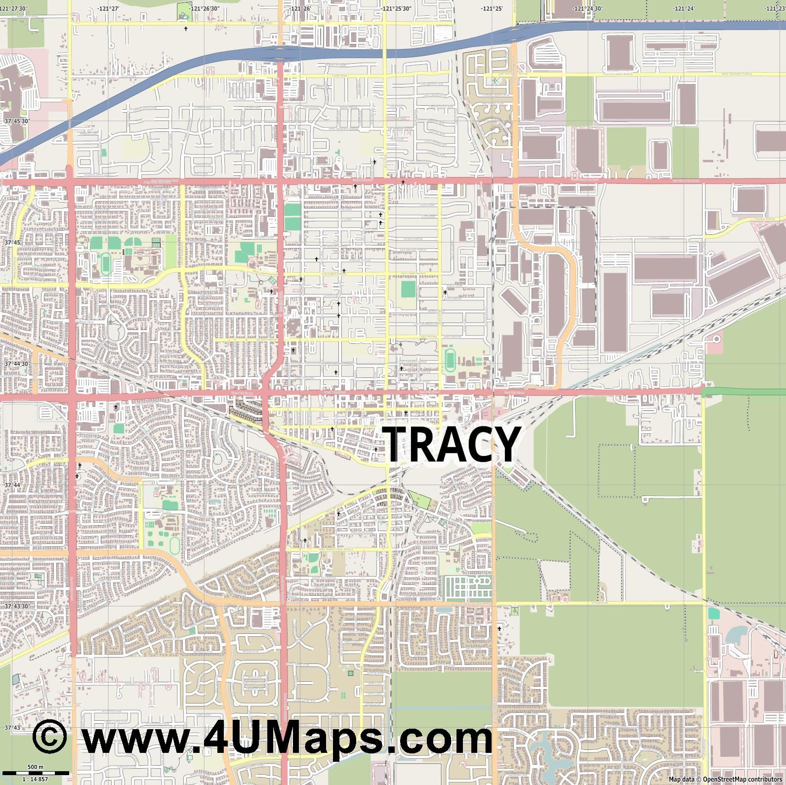 Tracy  jpg ultra high detail preview vector city map
