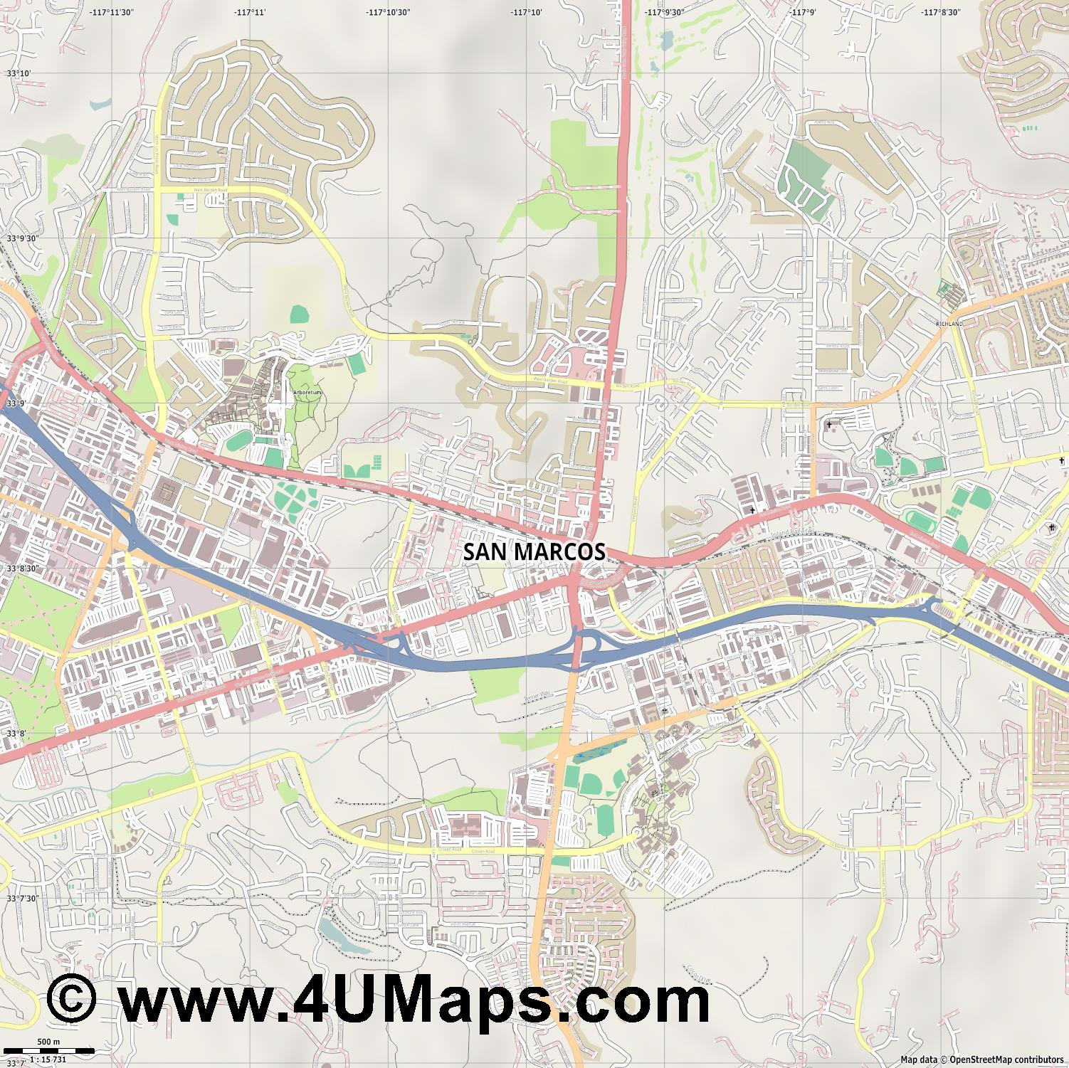 San Marcos  jpg ultra high detail preview vector city map
