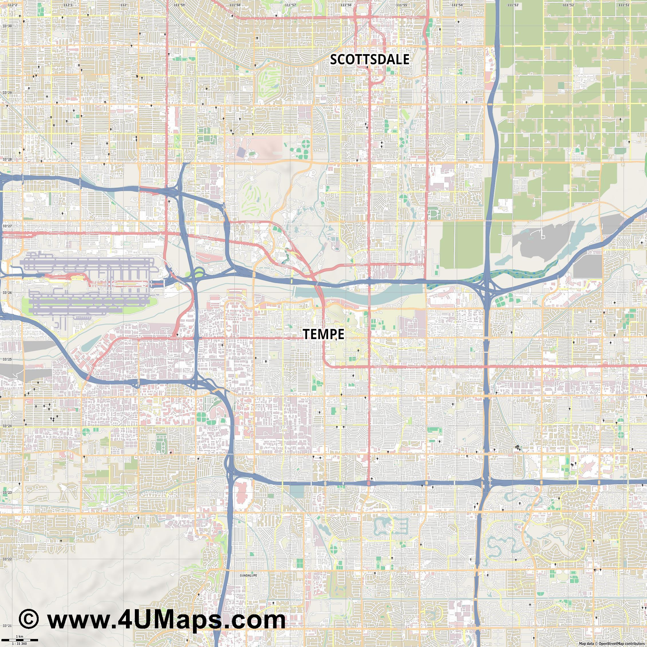 Svg Scalable Vector City Map Tempe