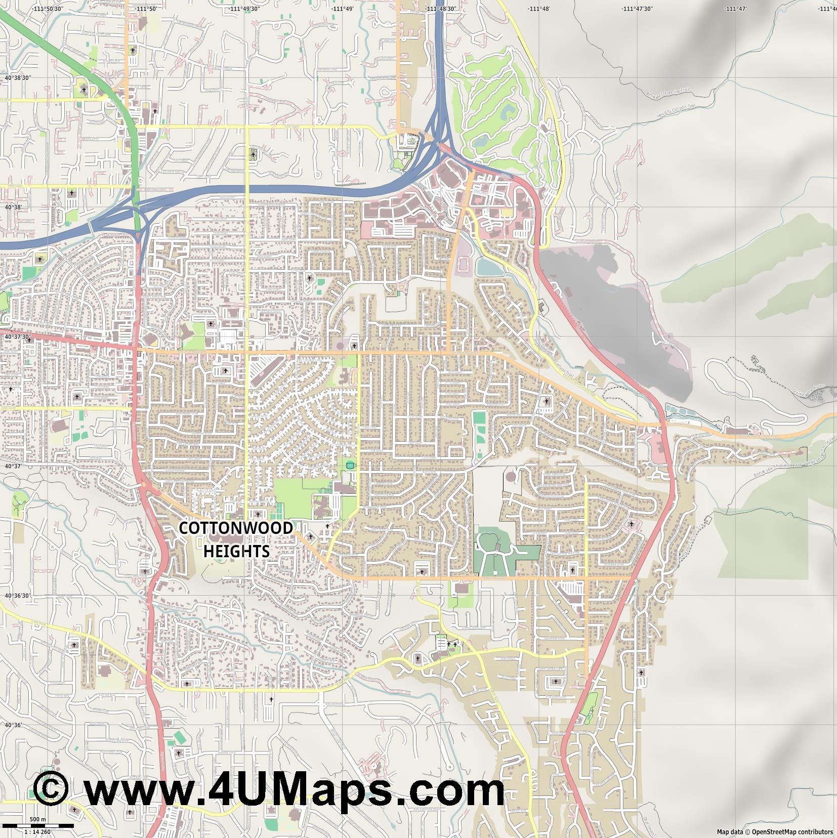Cottonwood Heights  jpg ultra high detail preview vector city map