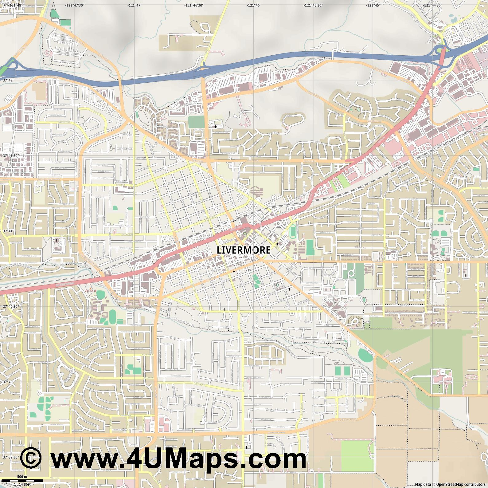 Livermore  jpg ultra high detail preview vector city map