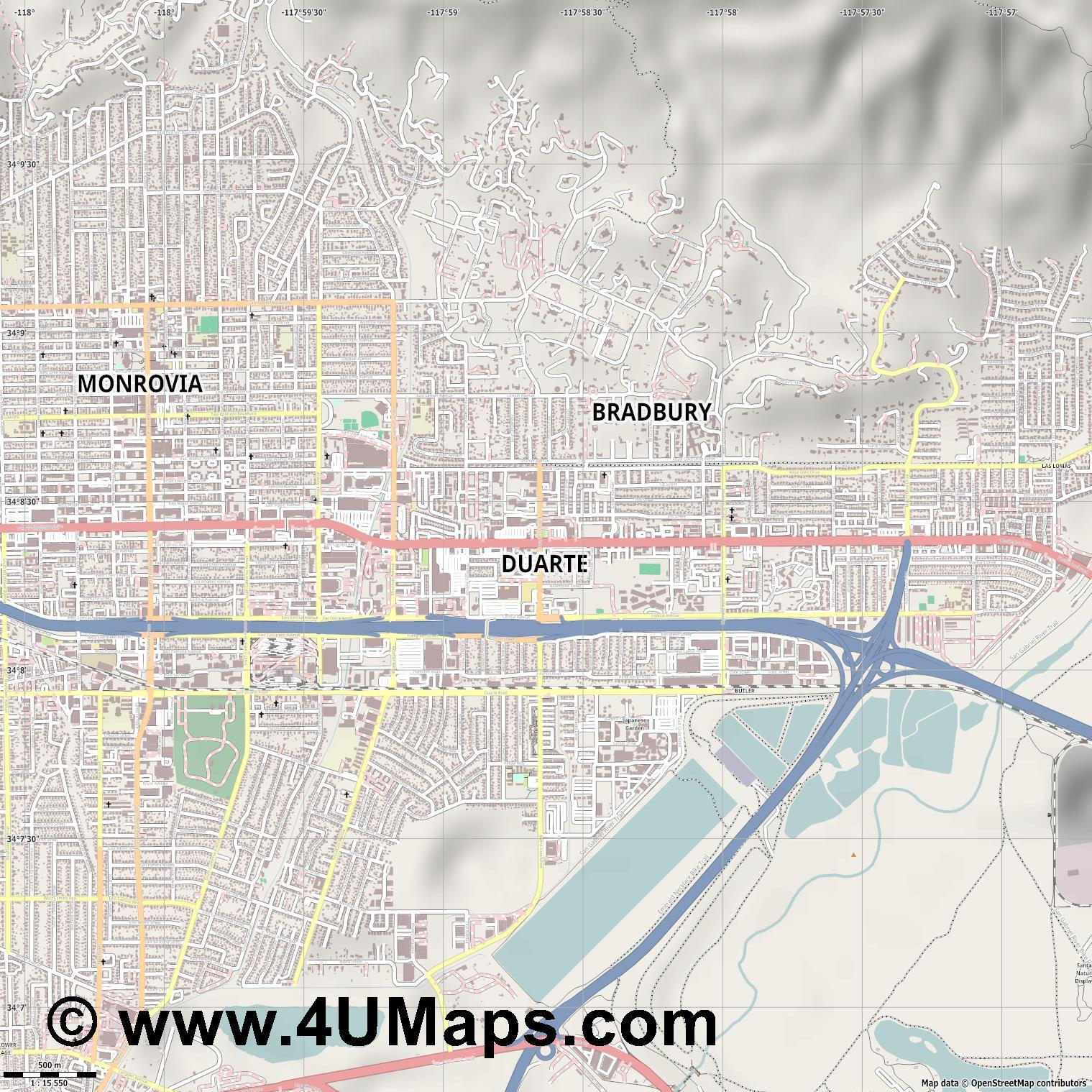 Duarte  jpg ultra high detail preview vector city map