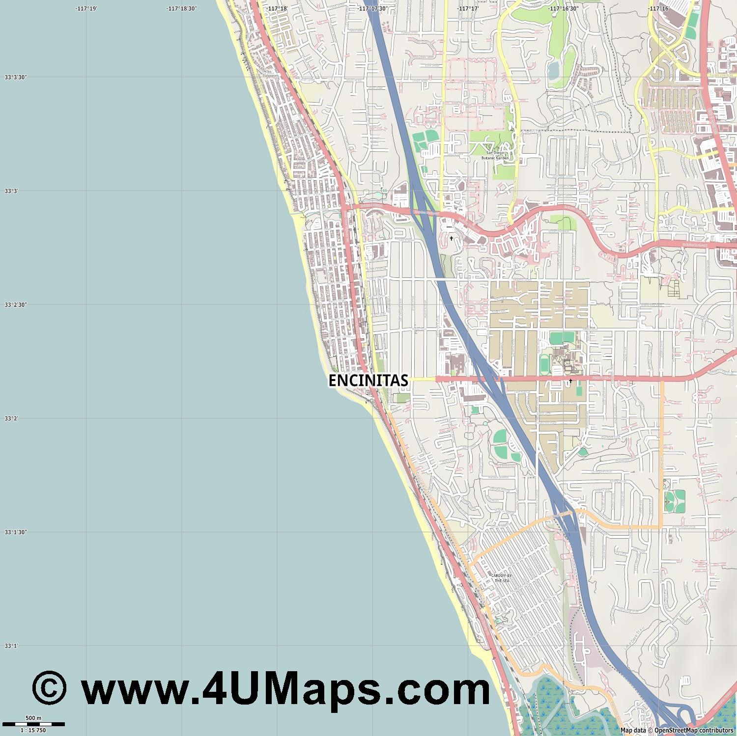 Encinitas  jpg ultra high detail preview vector city map