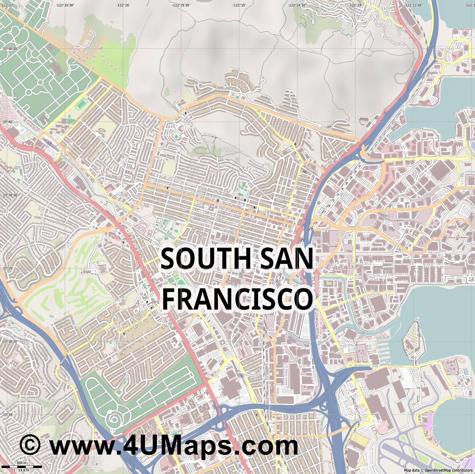 South San Francisco  jpg ultra high detail preview vector city map