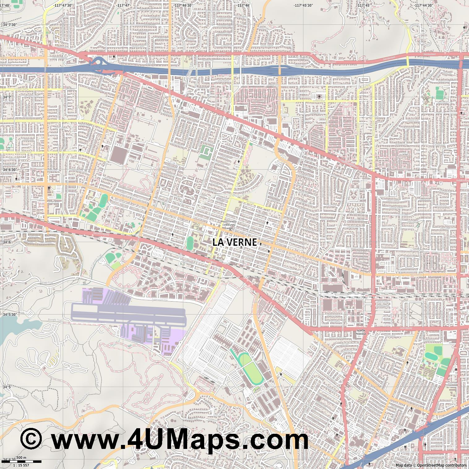 La Verne  jpg ultra high detail preview vector city map