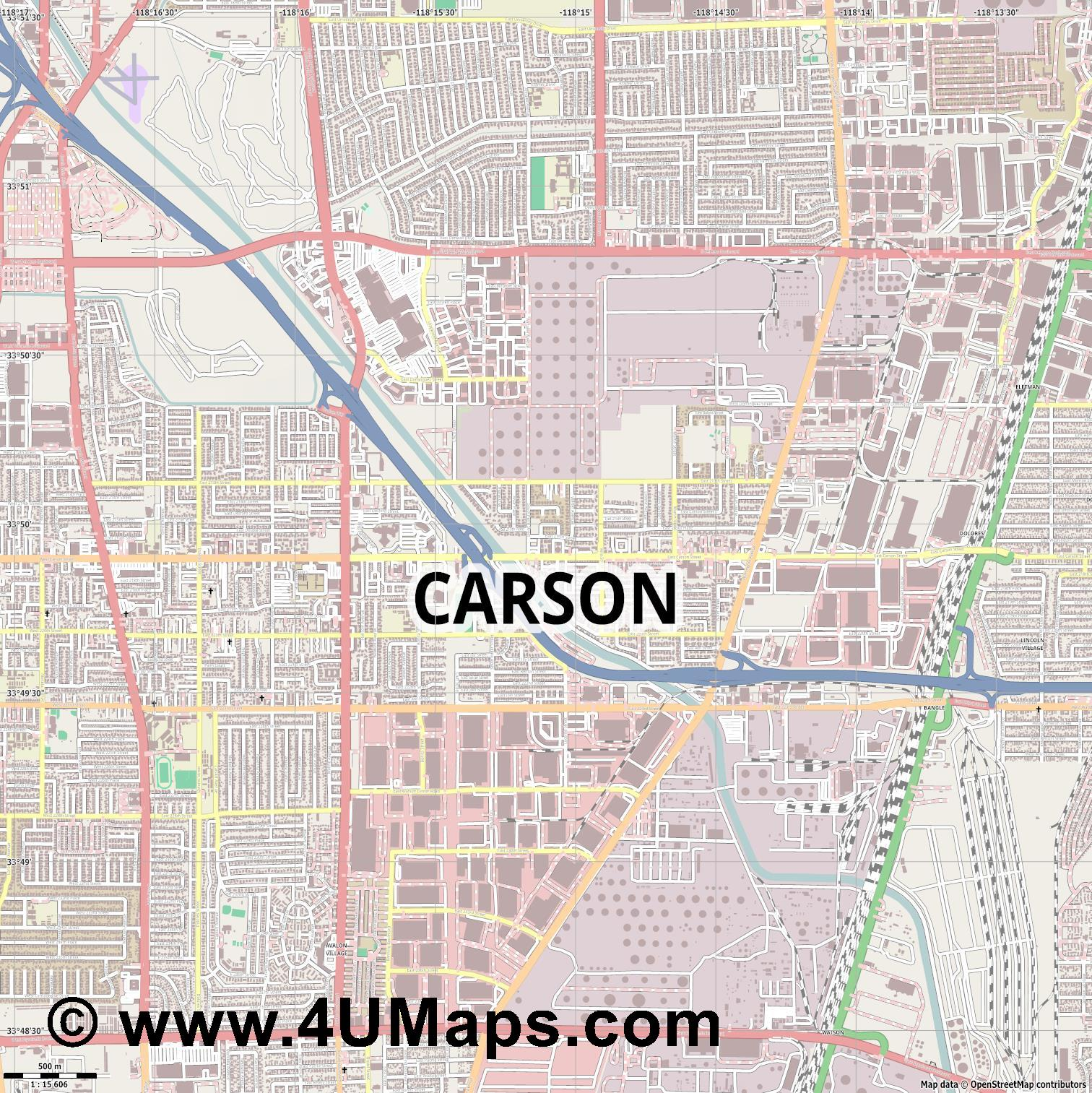 Carson  jpg ultra high detail preview vector city map