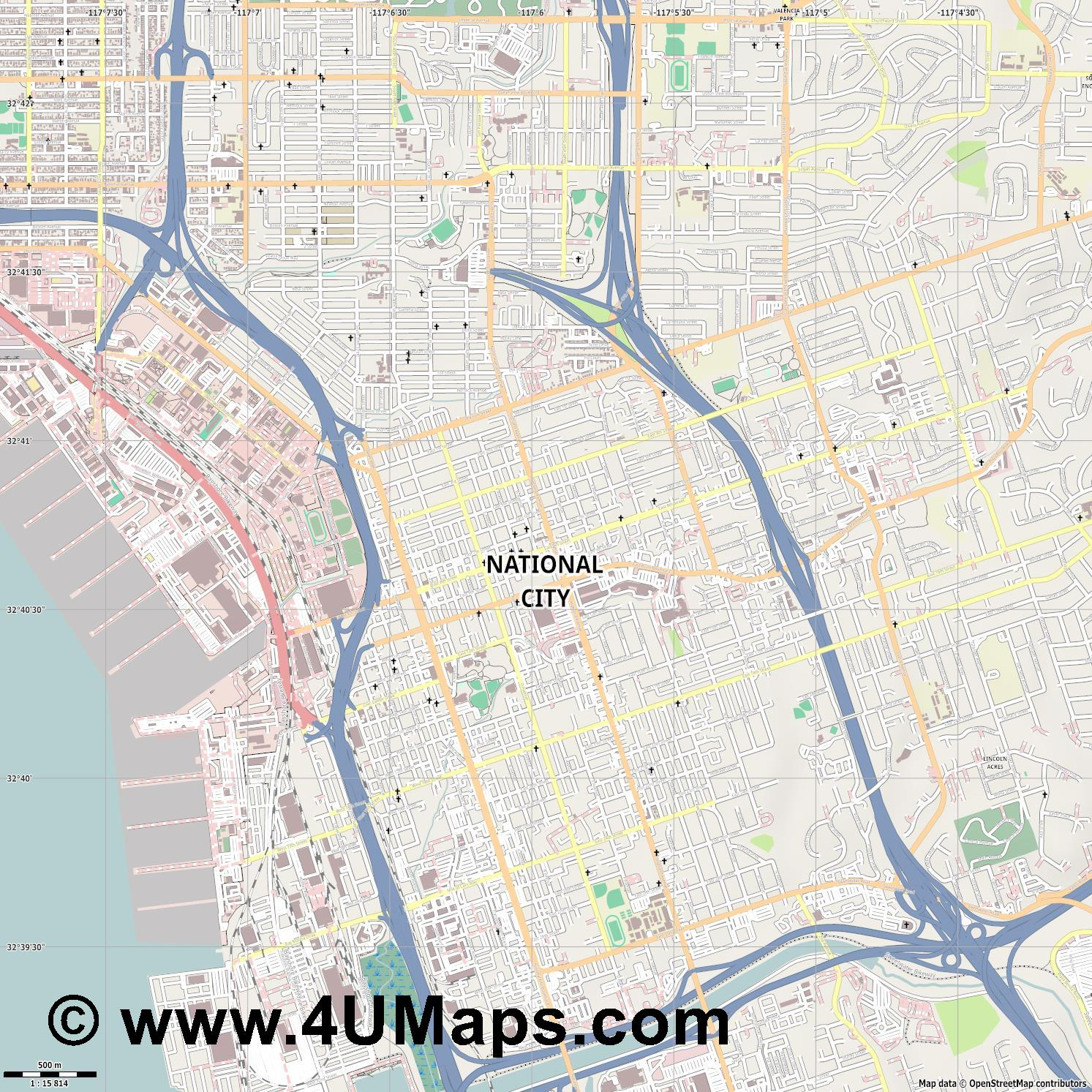 National City  jpg ultra high detail preview vector city map
