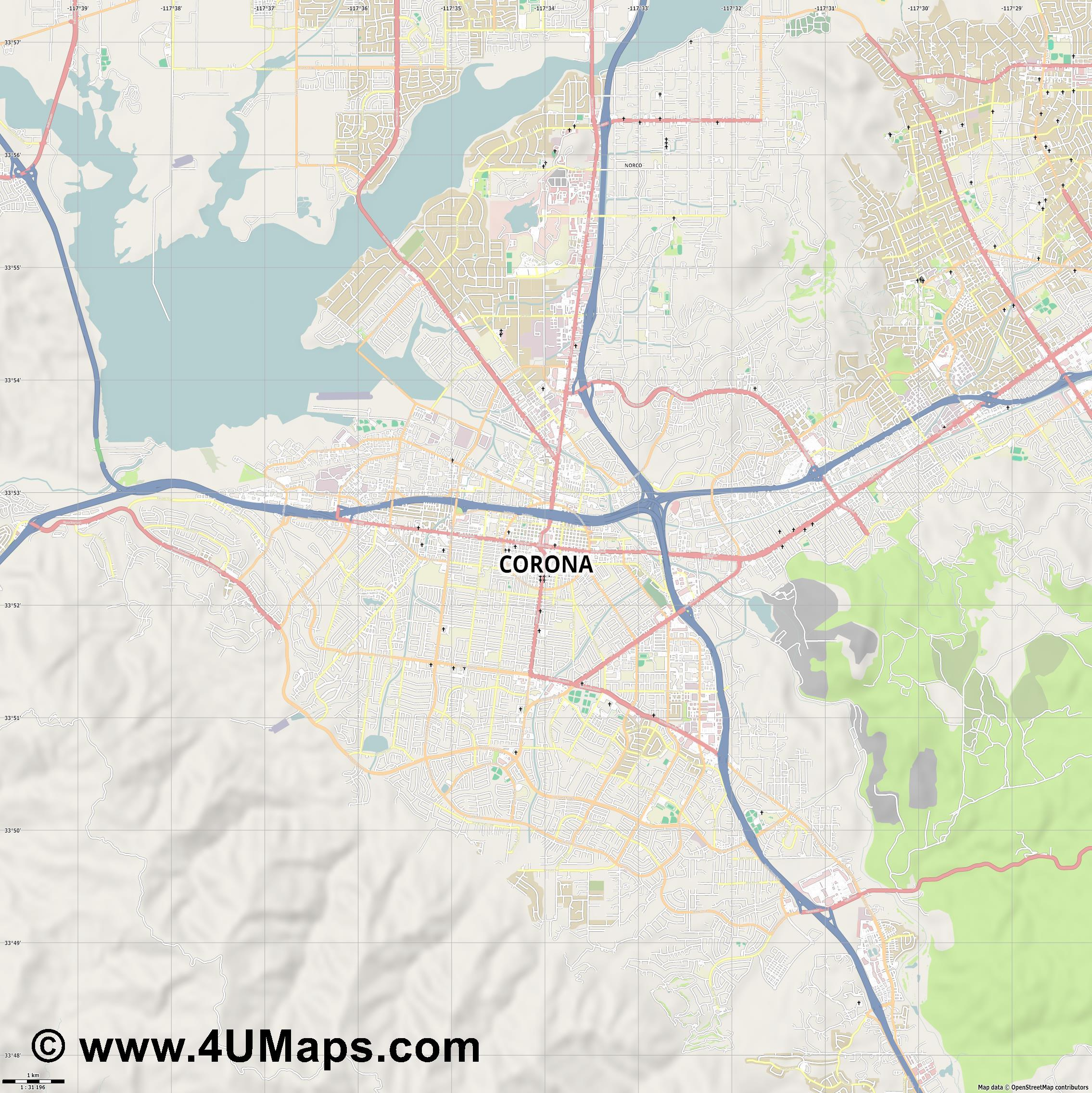 Corona  jpg high detail, large area preview vector city map